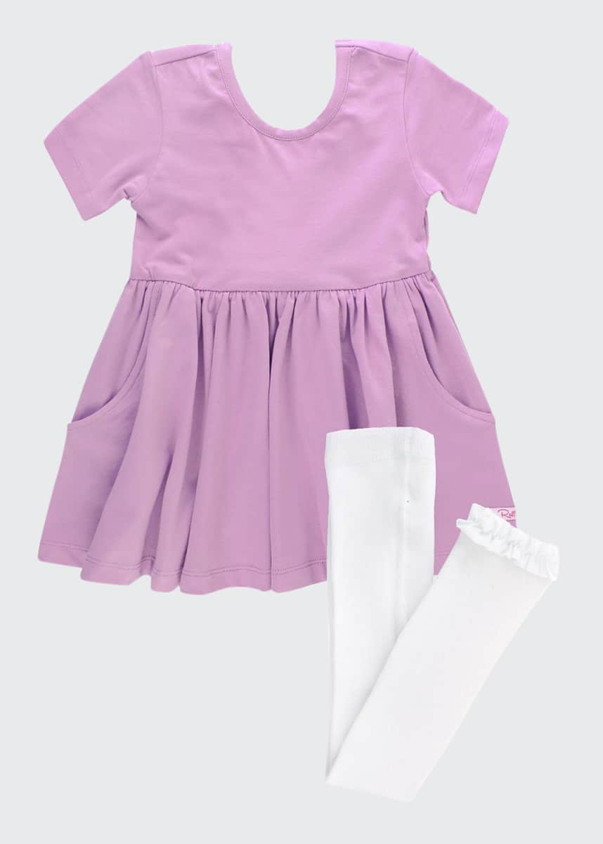 RuffleButts Girl's Lilac Twirl Bow Dress w/ Knit Tights, Size 0-4T