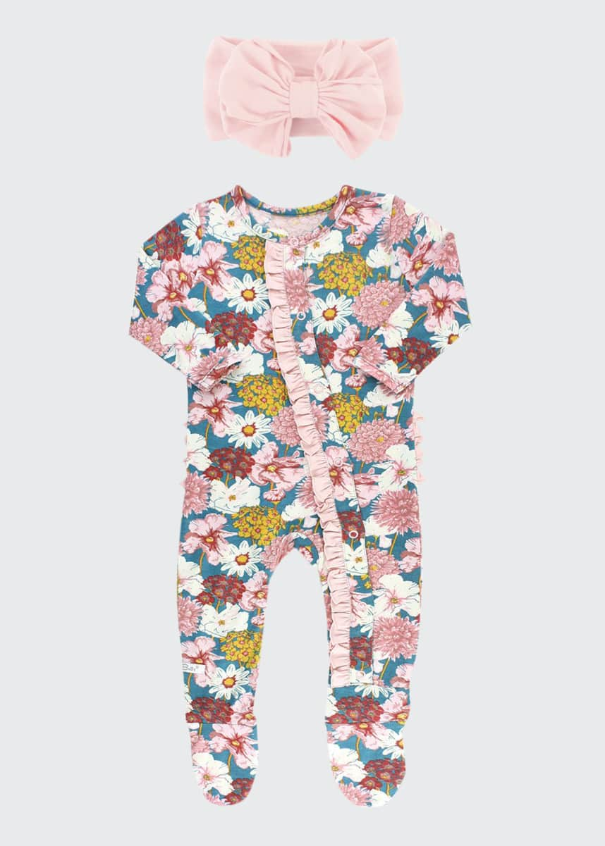 RuffleButts Girl's Radiant Stems Floral-Print Footie Pajamas w/ Bow Headband, Size 0-24M