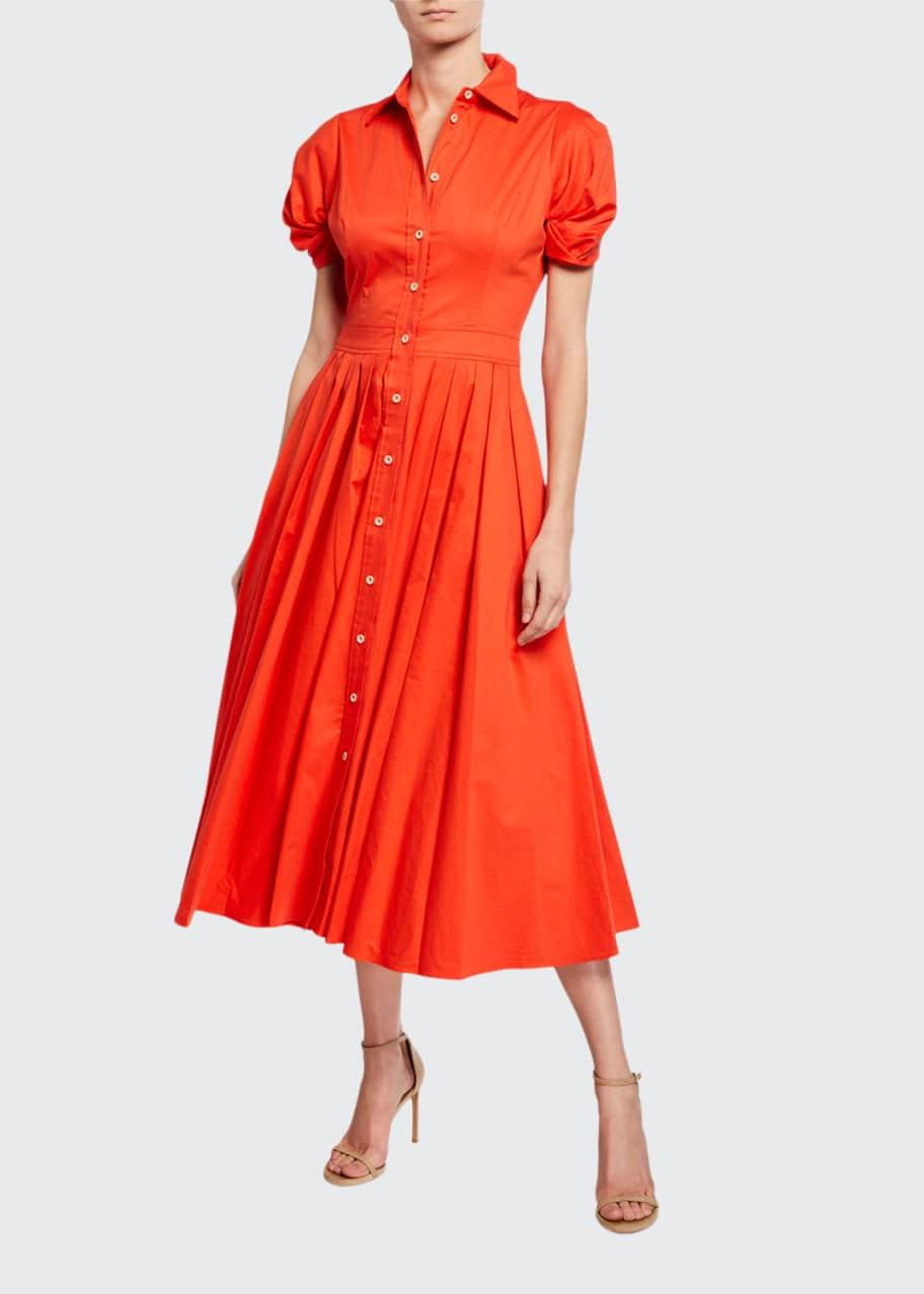 Gyles Pleated Short-Sleeve Shirt Dress