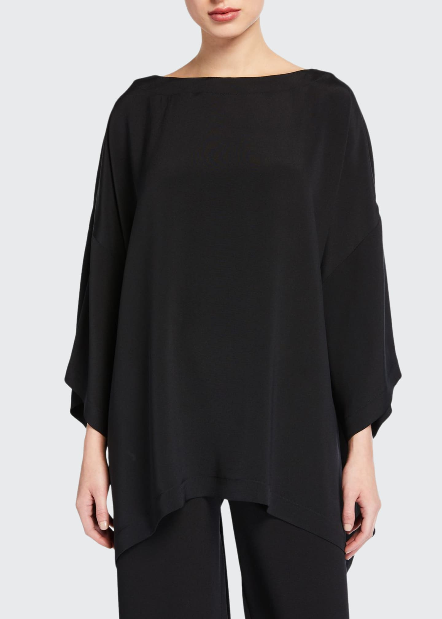 Image 1 of 1: 3/4-Sleeve Silk Boat-Neck Blouse