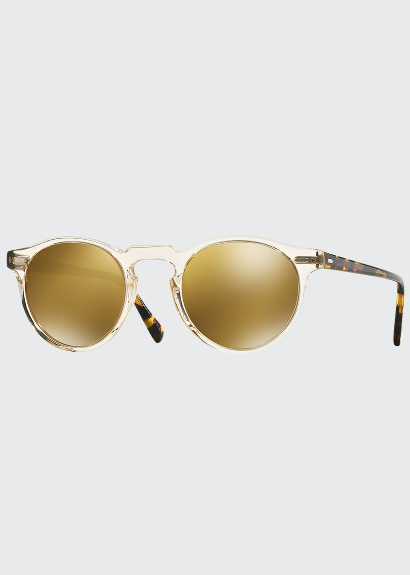 Image 1 of 1: Gregory Peck 47 Round Sunglasses, Yellow