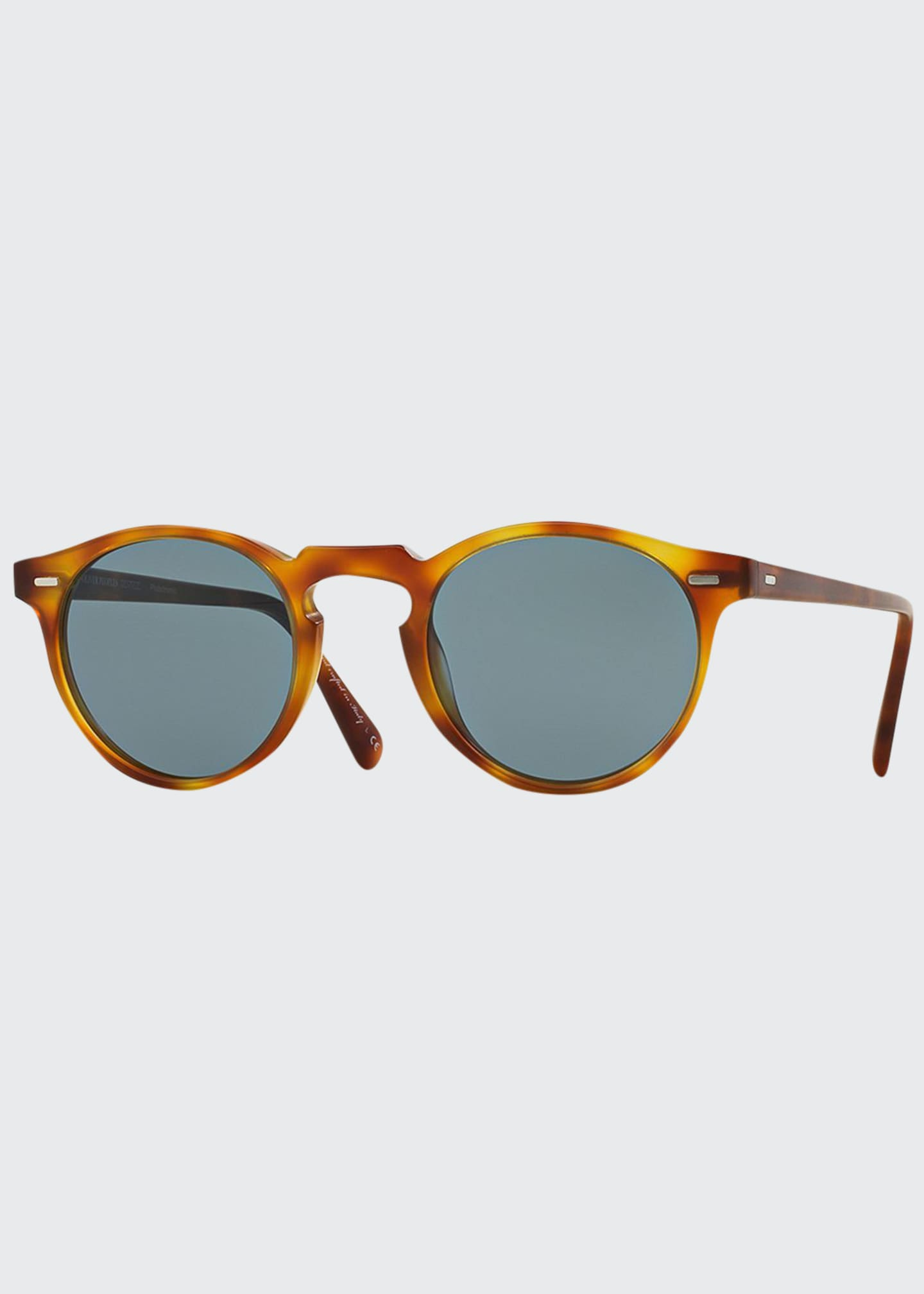 Image 1 of 1: Gregory Peck Round Plastic Sunglasses, Brown/Tortoise
