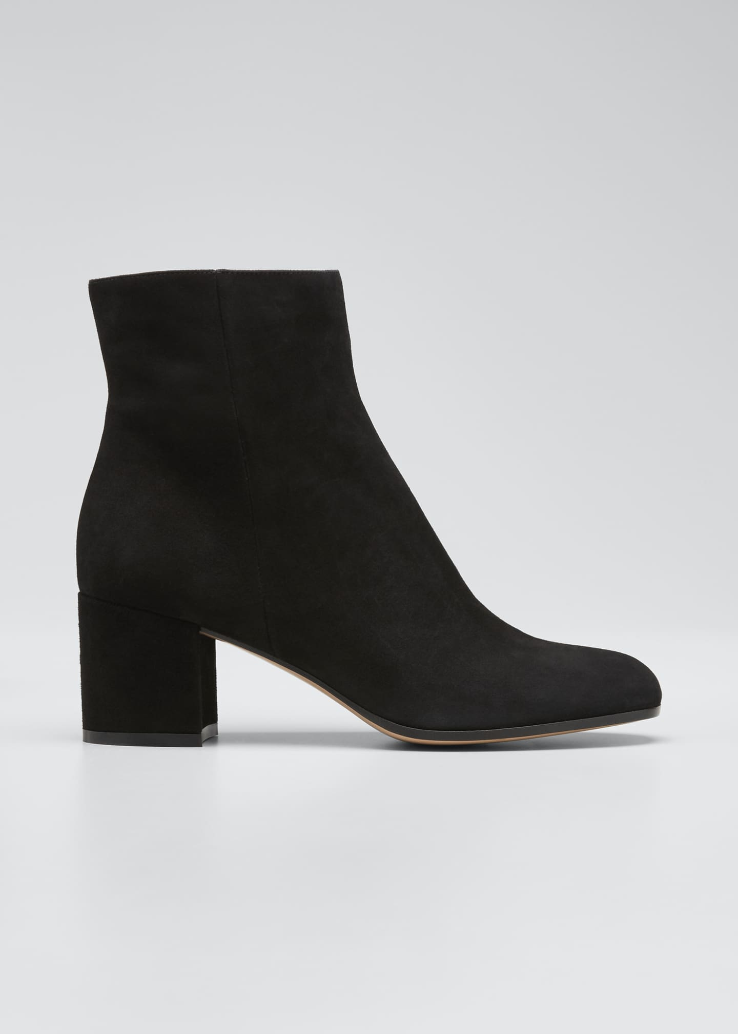 Image 1 of 5: Suede Block-Heel Ankle Boot