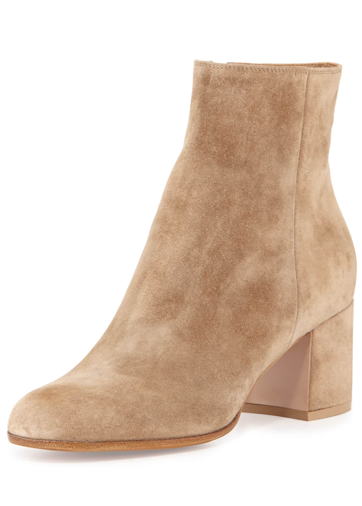 Image 1 of 3: Suede Block-Heel Ankle Boot