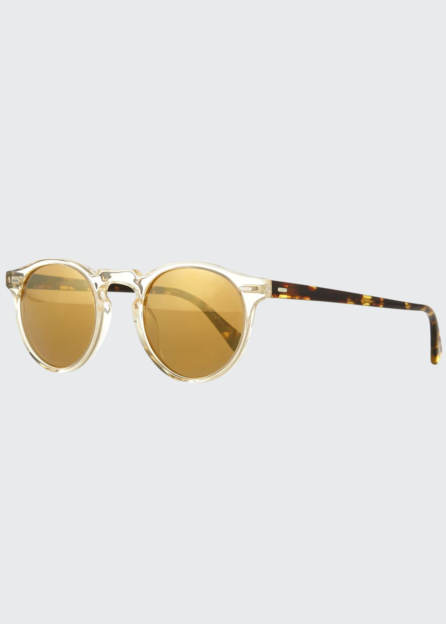 Image 1 of 3: Gregory Peck Round Plastic Sunglasses, Clear/Tortoise