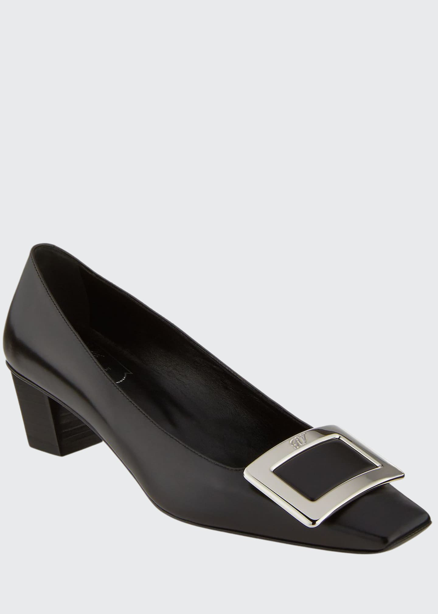 Roger Vivier Decollete Belle Vivier Leather Ballerina Pumps,
