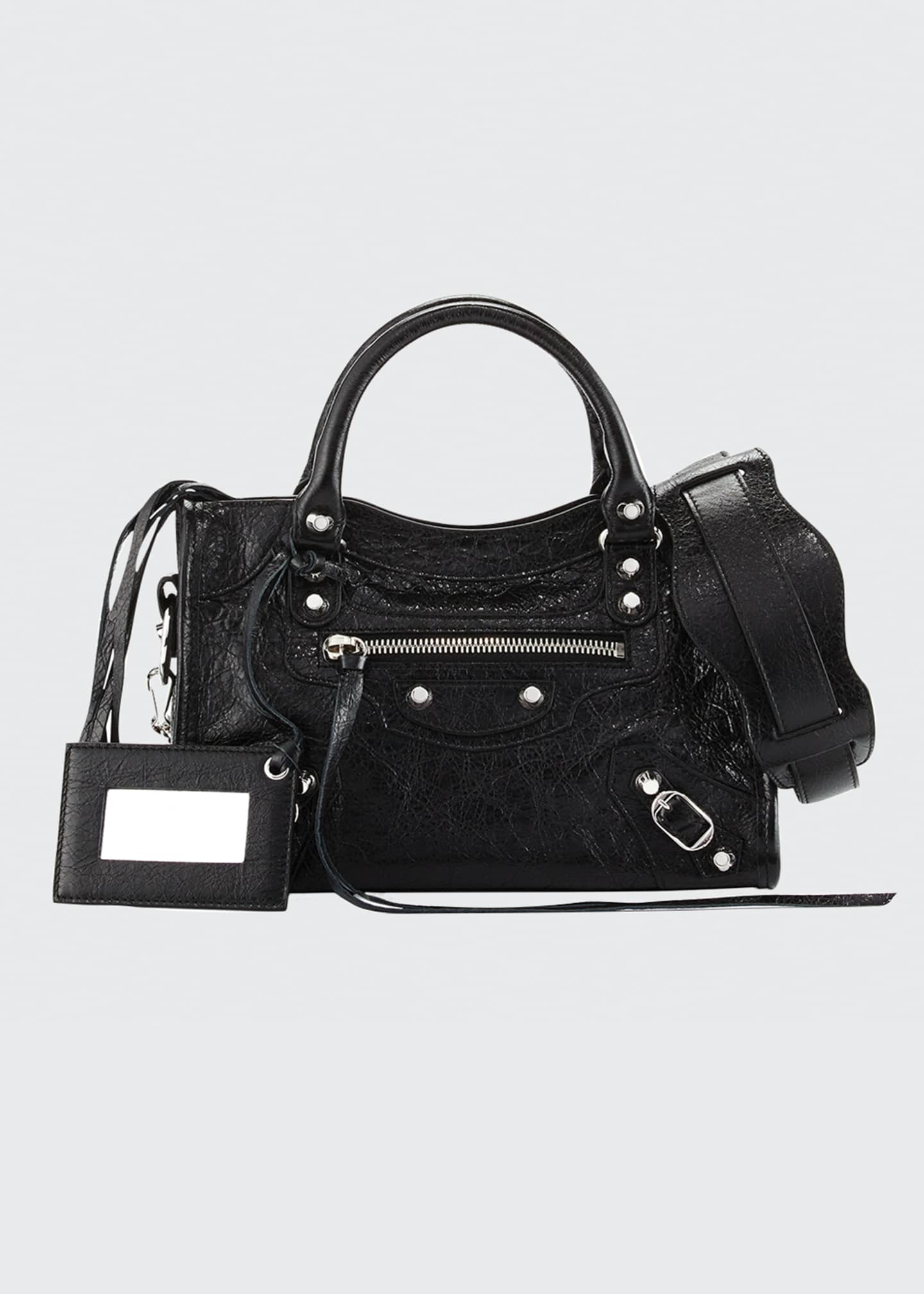 Image 1 of 2: Classic Nickel Mini City AJ Bag, Black