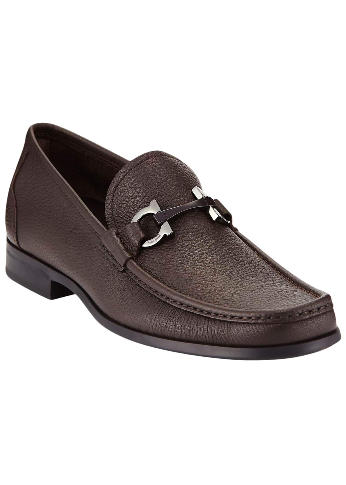 Image 1 of 5: Men's Textured Calfskin Gancini Loafer