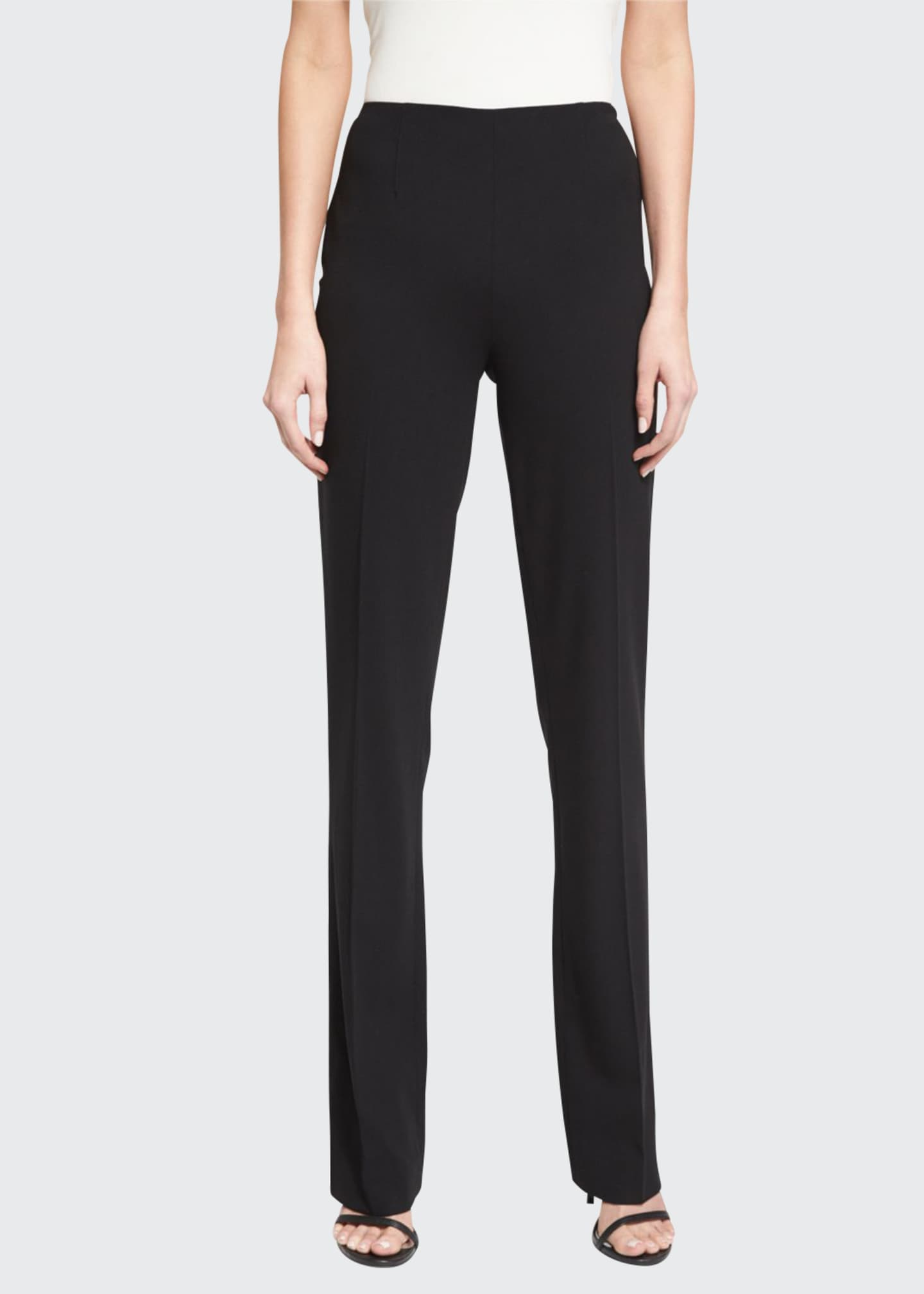 Image 1 of 3: Alandra Side-Zip Stretch-Wool Pants, Black