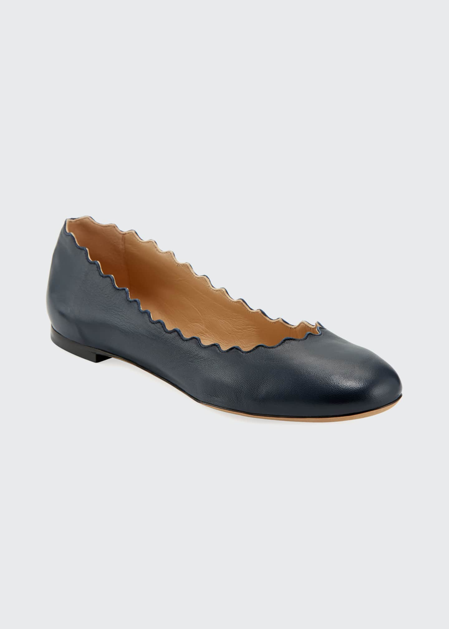Image 1 of 1: Lauren Scalloped Leather Ballet Flats