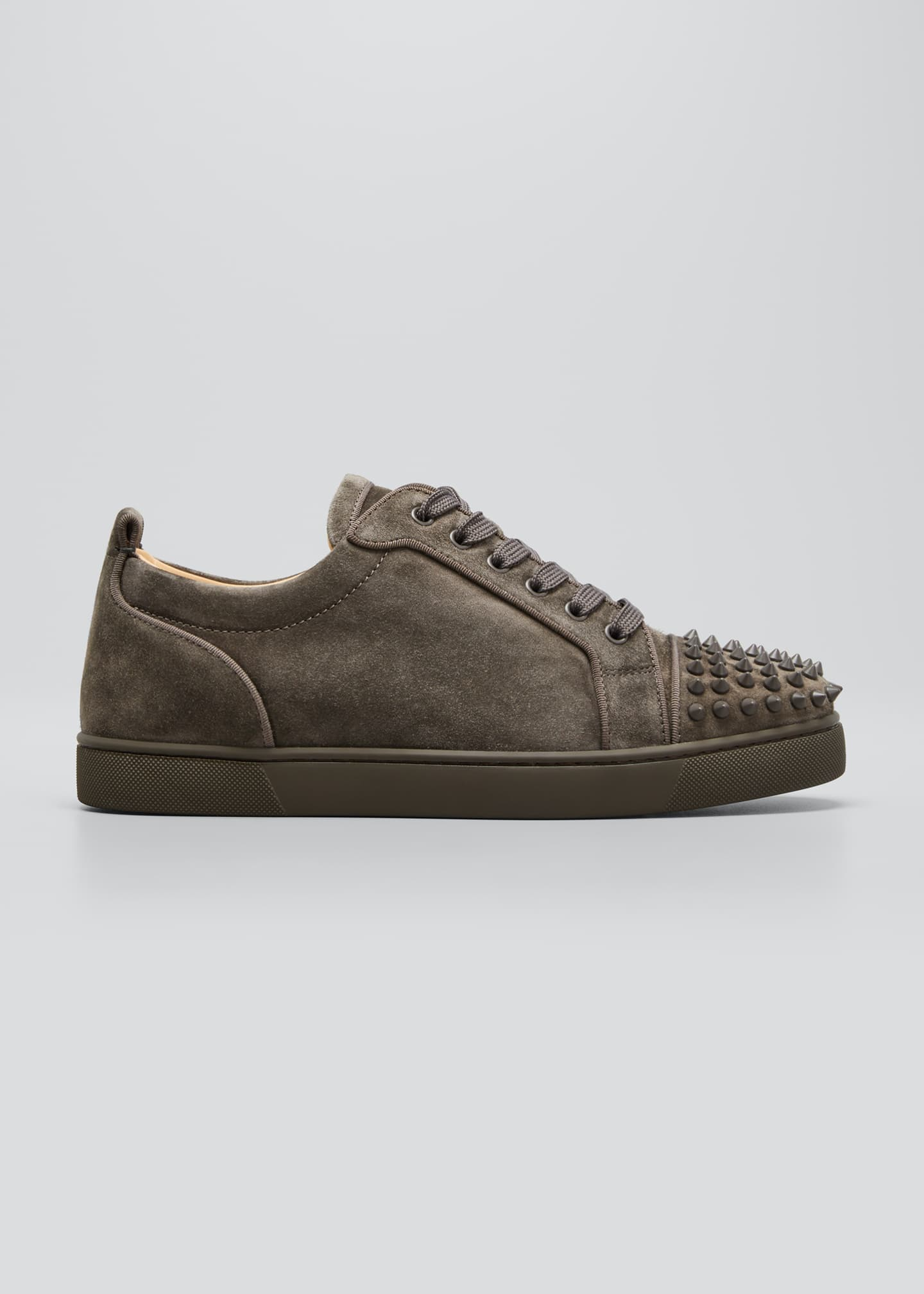 Christian Louboutin Men's Louis Junior Suede Spiked Low-Top