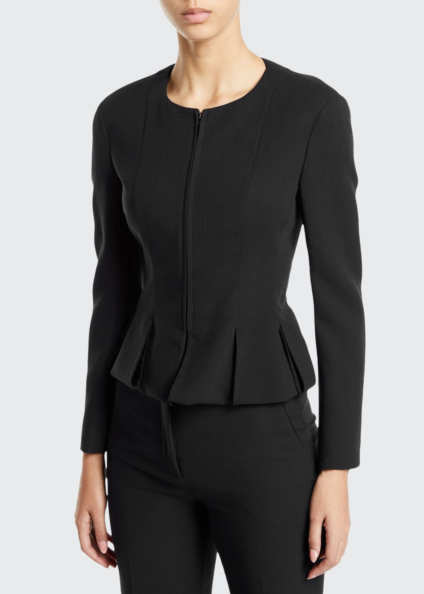 Image 1 of 3: Ilaria Peplum Zip-Front Jacket