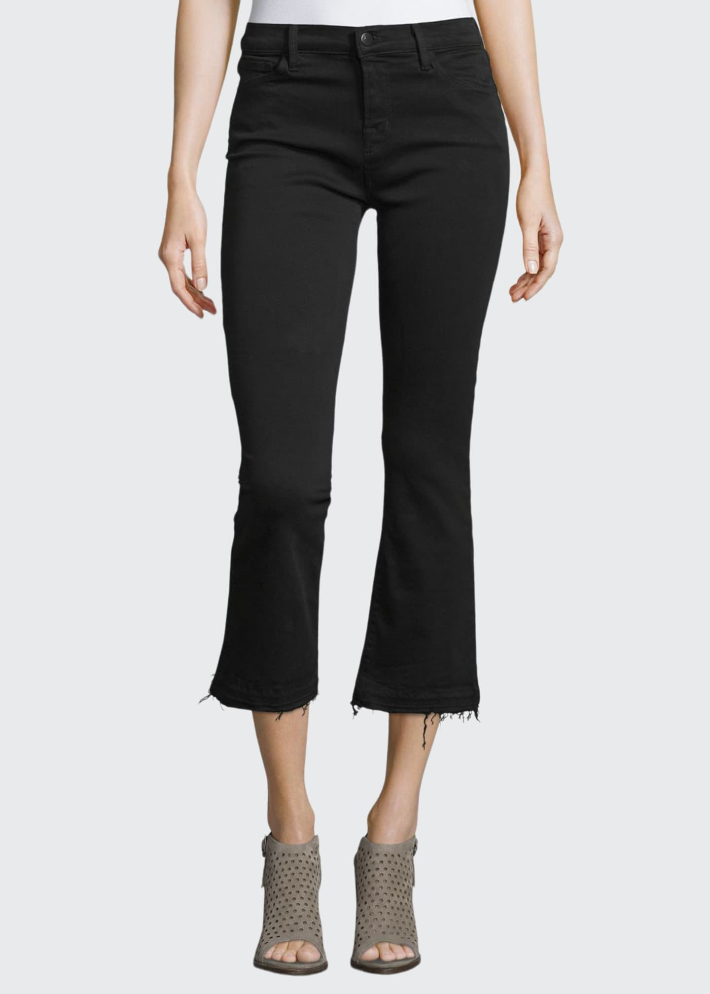 Image 1 of 3: Selena Cropped Boot-Cut Jeans, Black