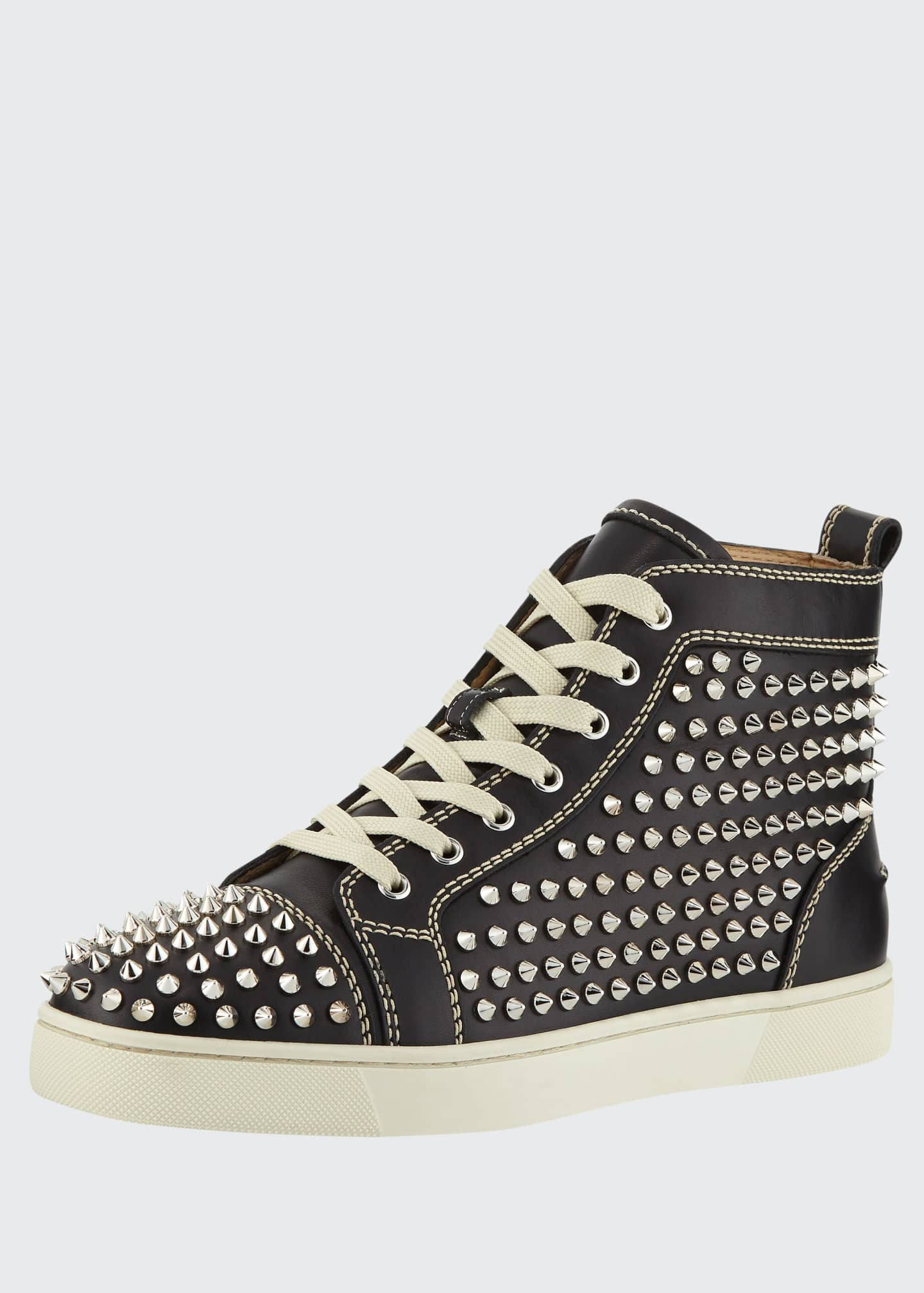 Image 1 of 4: Men's Louis Mid-Top Spiked Leather Sneakers