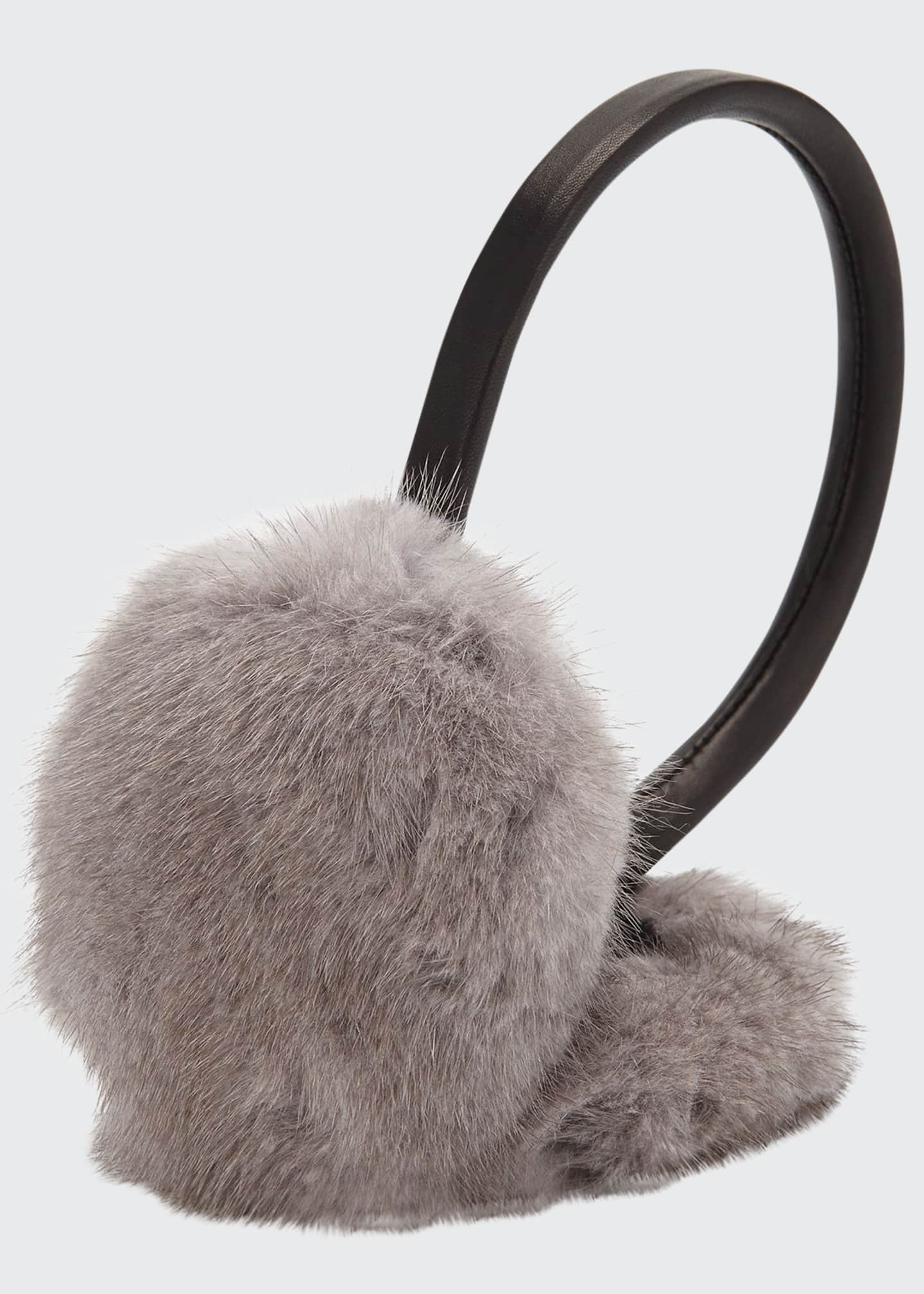 Image 1 of 1: Leather & Mink Fur Earmuffs, Gray/Black