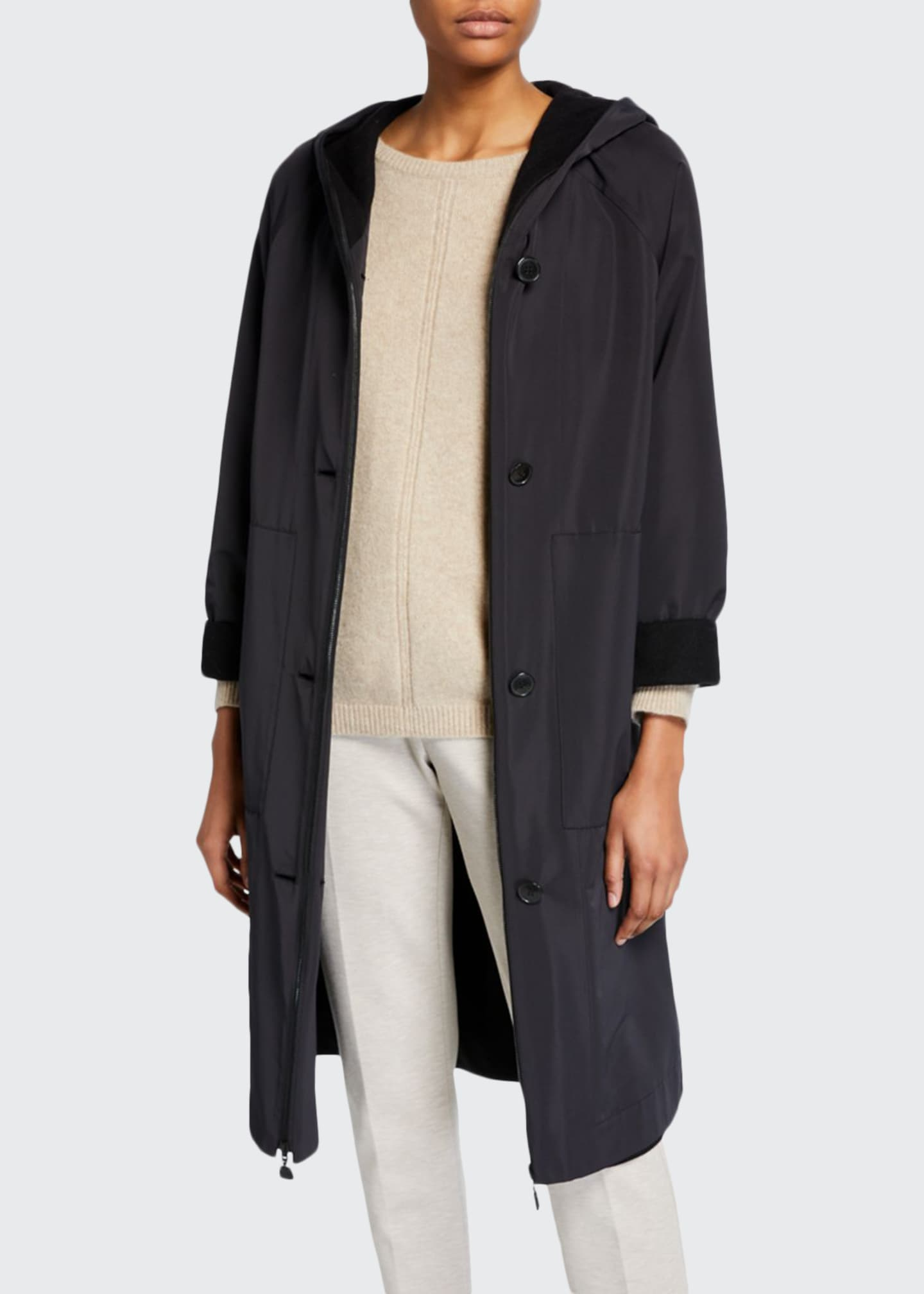 Akris 2-in-1 Hooded Button-Front Silk & Cashmere Jacket