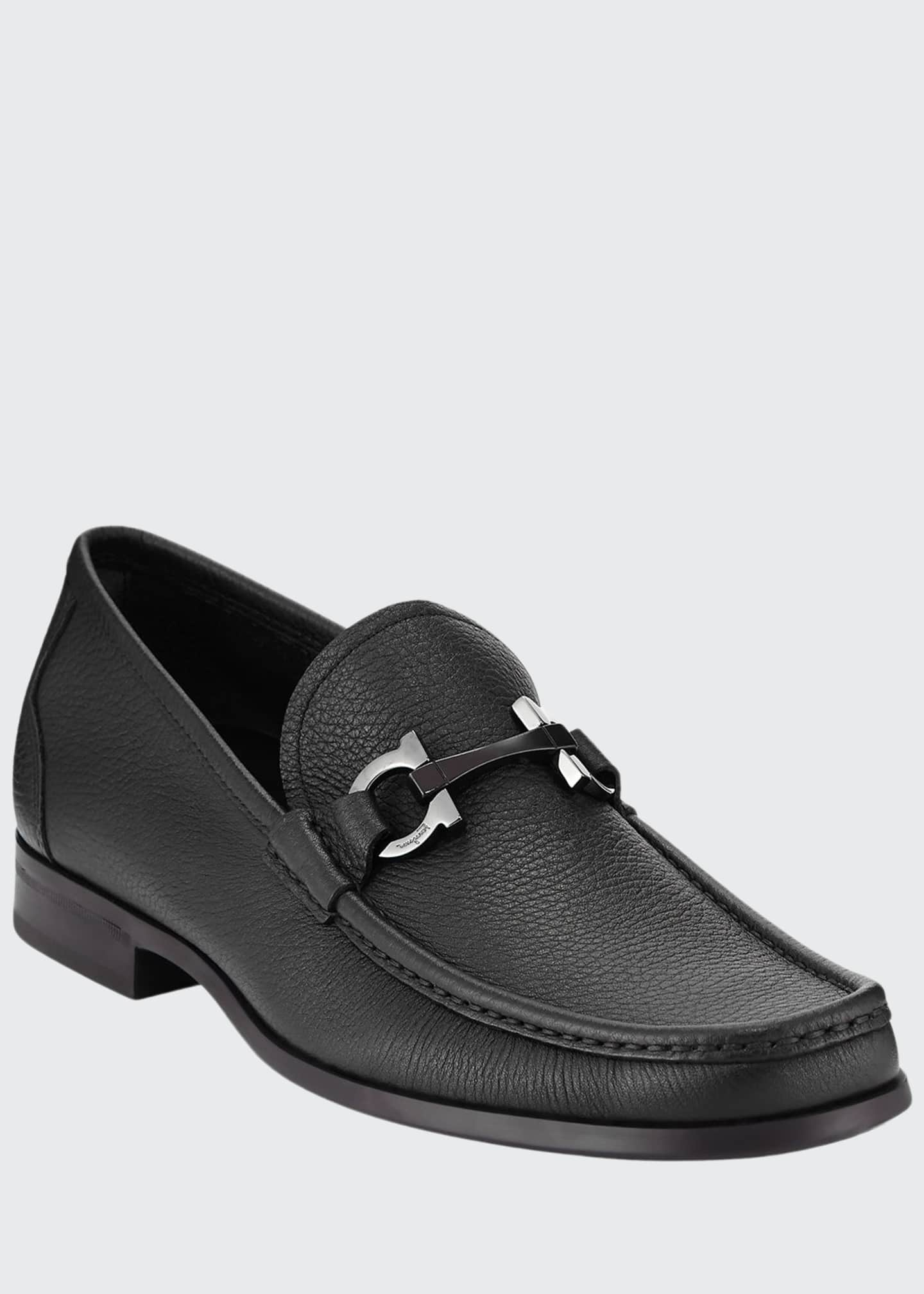 Image 1 of 5: Men's Grained Calf Leather Bit Loafer