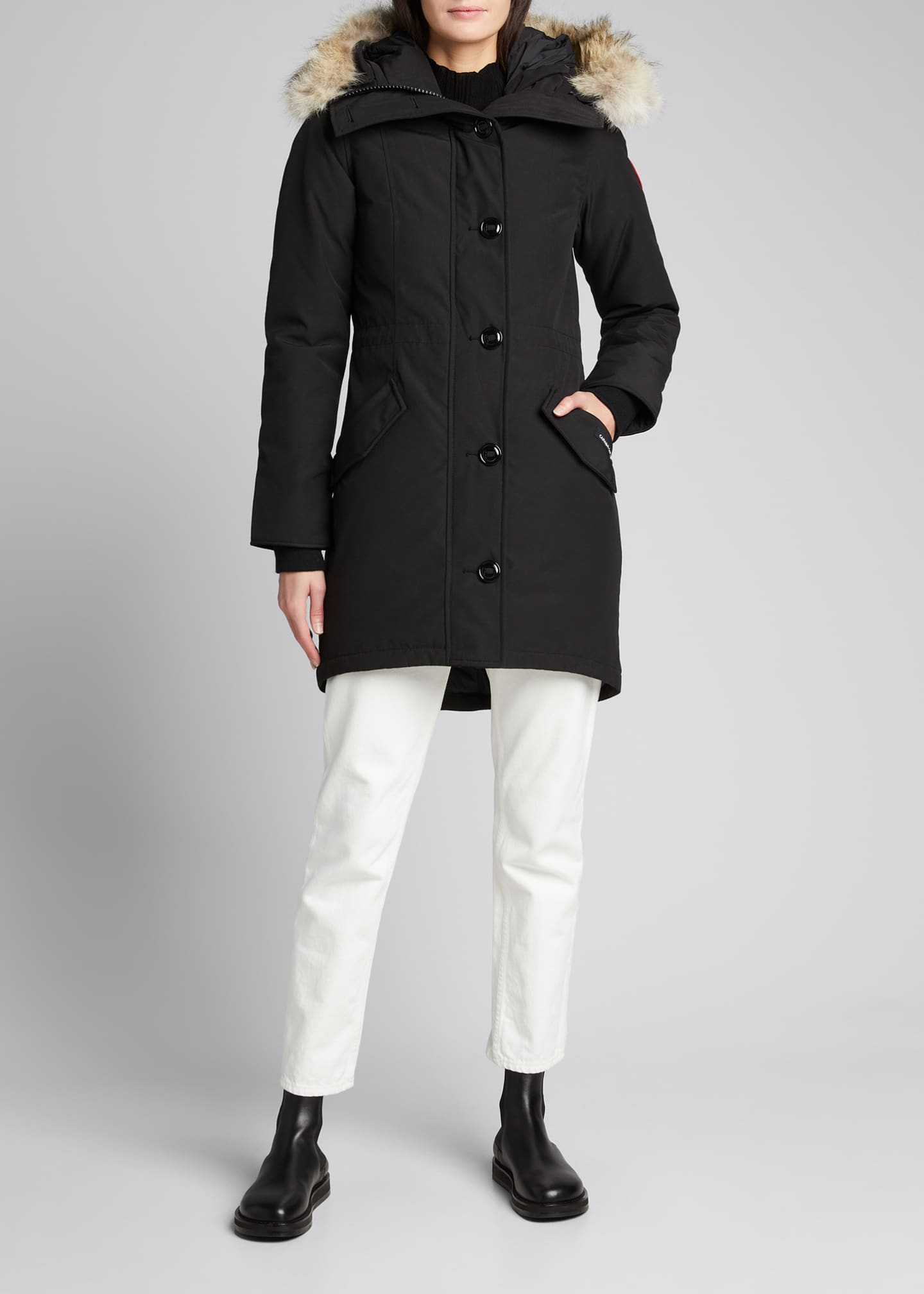Image 1 of 5: Rossclair Fur-Trim Hooded Down Parka