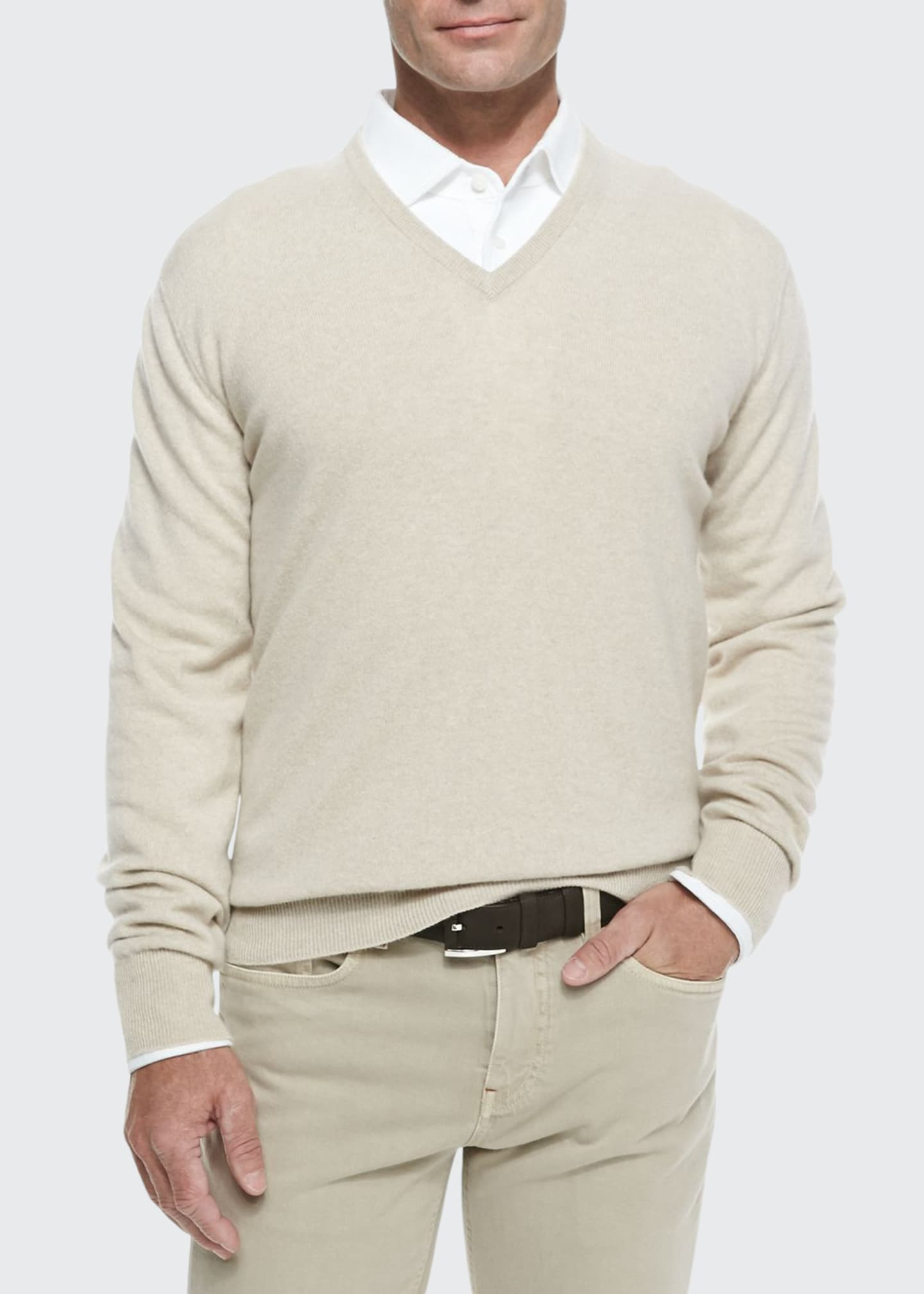 Image 1 of 2: Baby Cashmere V-Neck Sweater, Natural