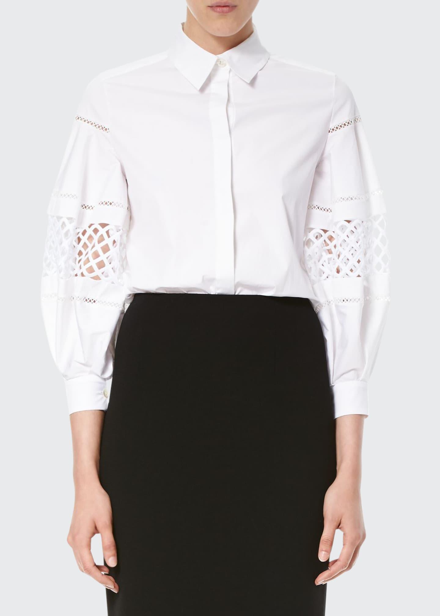 Carolina Herrera Crochet-Inset Balloon-Sleeve Blouse, White