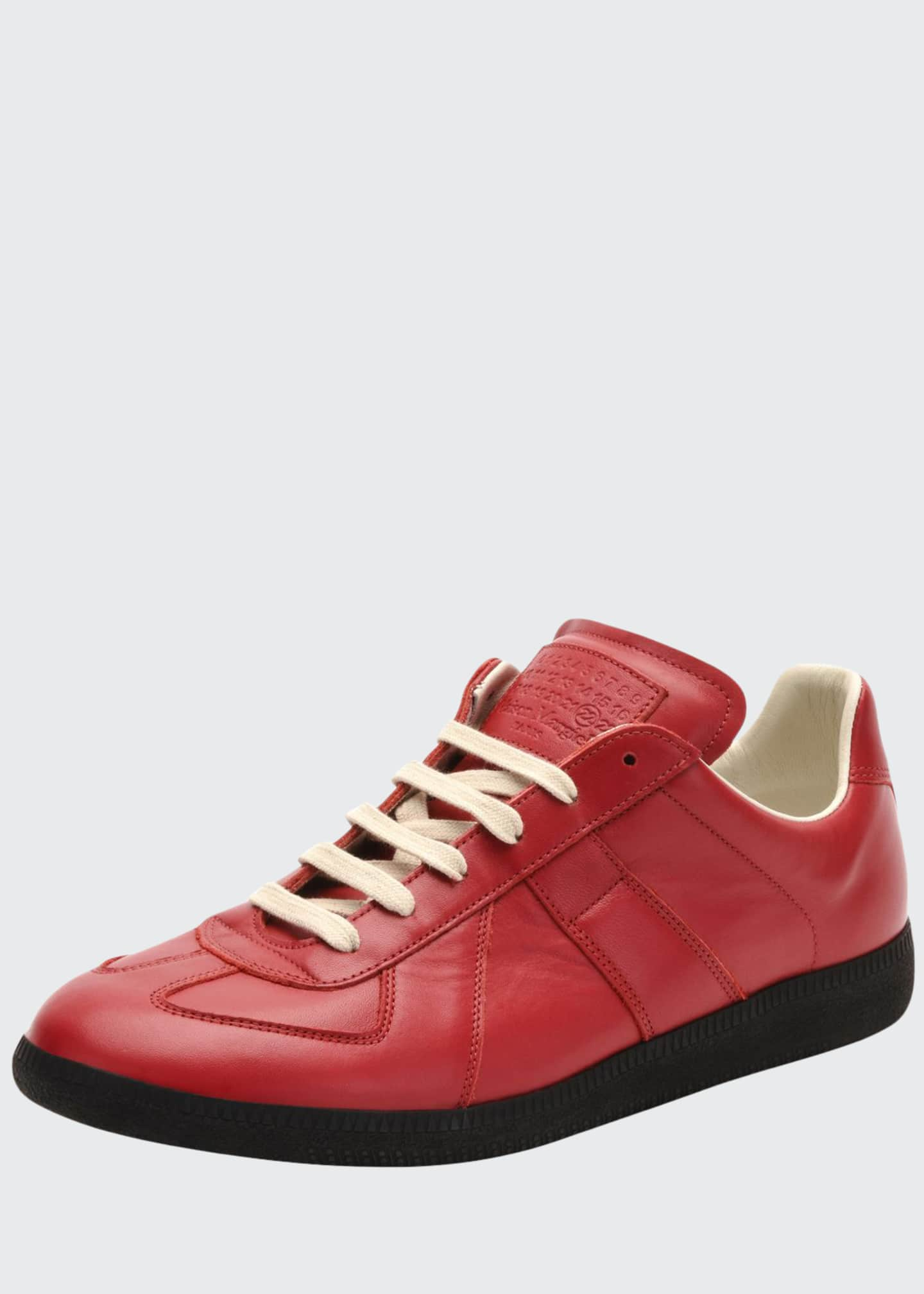 Image 1 of 3: Replica Leather Low-Top Sneaker, Red/Black