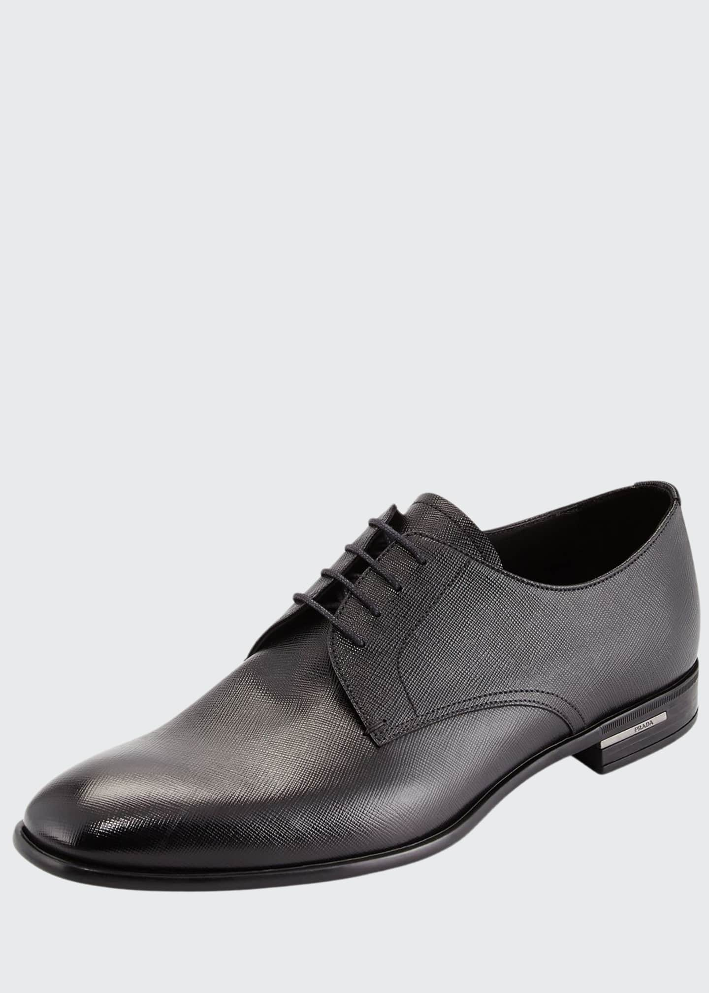 Image 1 of 4: Saffiano Leather Lace-Up, Black