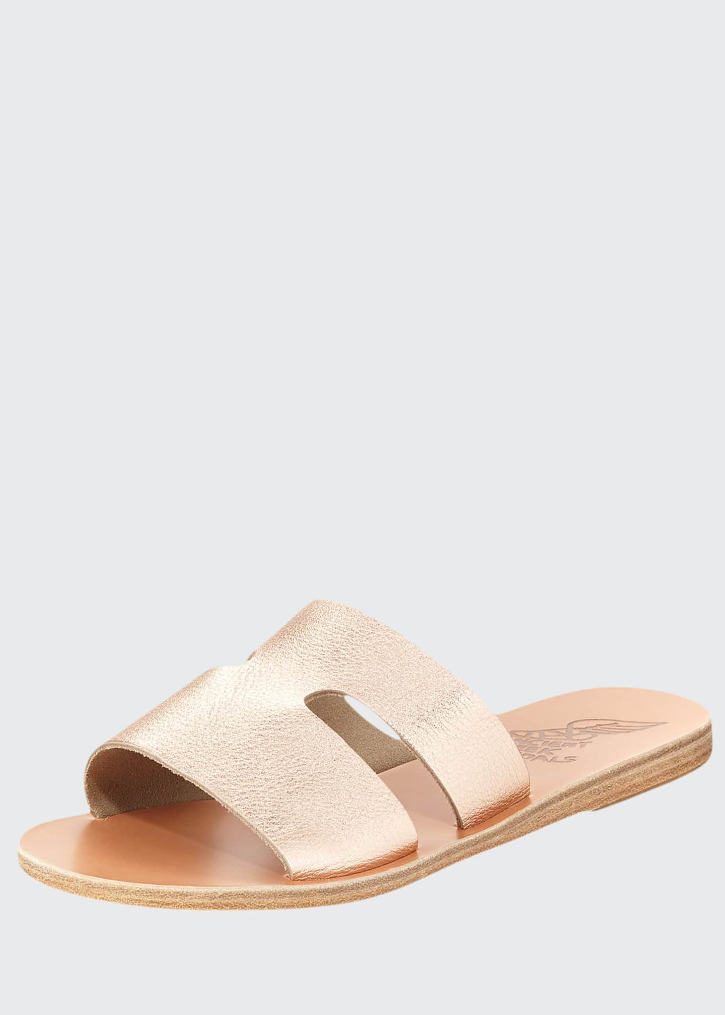Image 1 of 3: Apteros Cutout Leather Flat Slide Sandals, Sand
