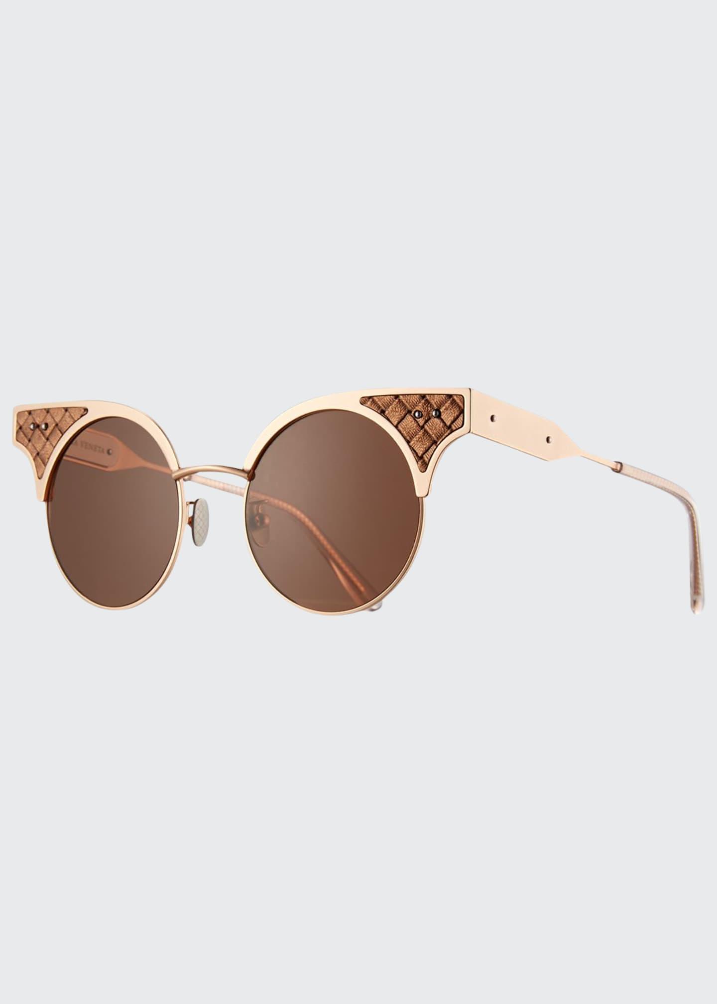 Bottega Veneta Round Metal Intrecciato Sunglasses