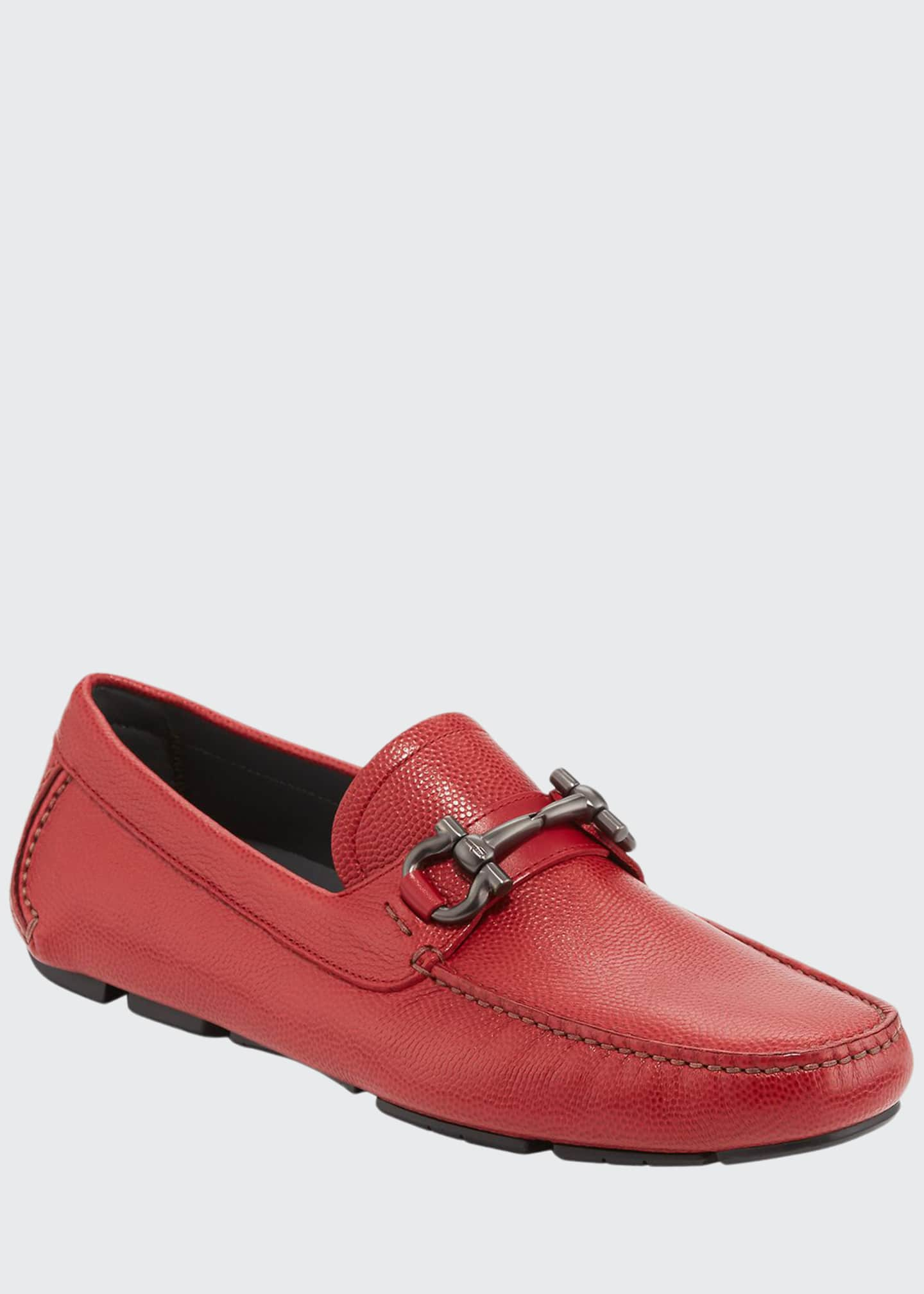 Image 1 of 4: Men's Leather Gancini Driver, Red