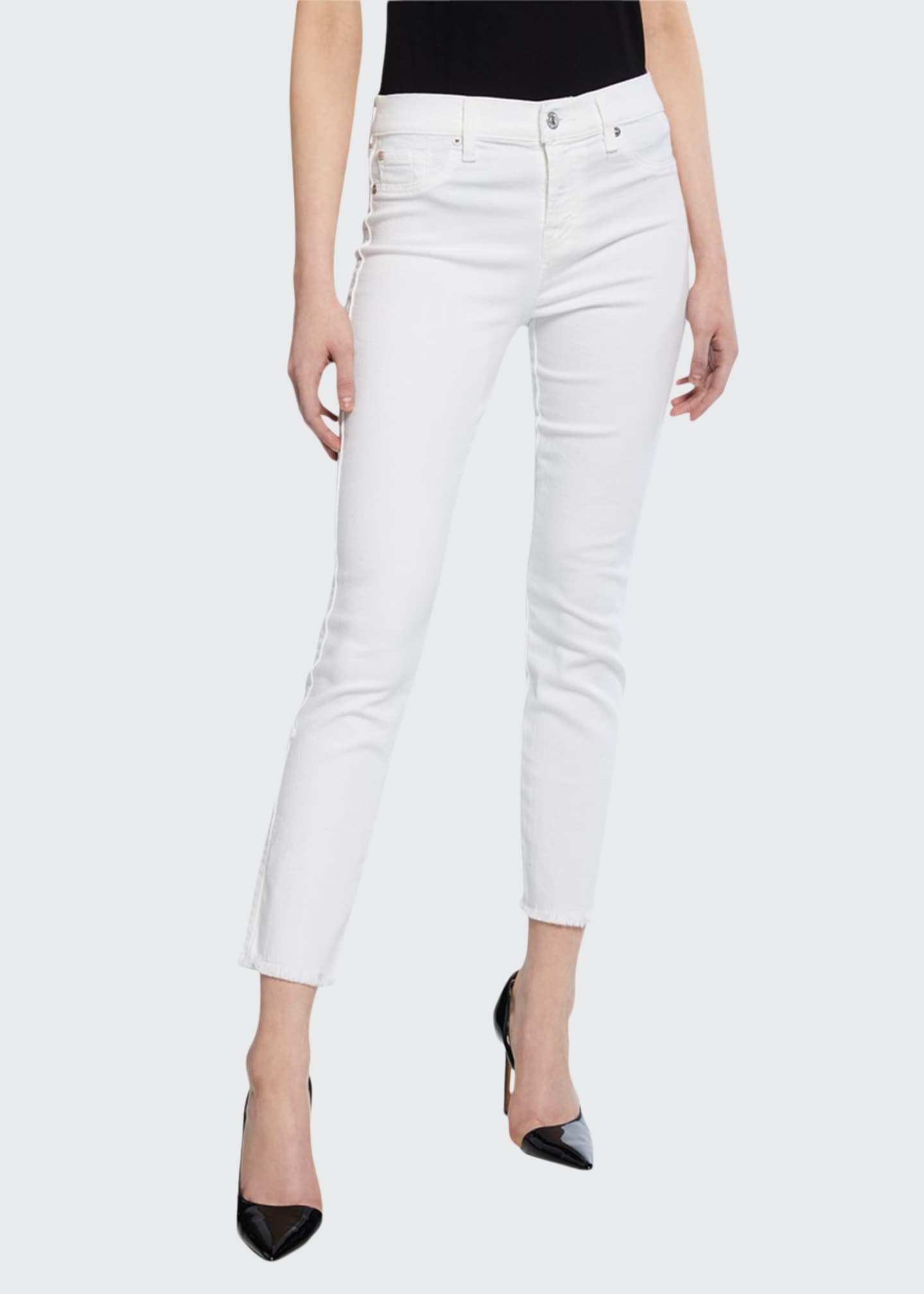Image 1 of 3: Roxanne Raw-Edge Ankle Skinny Jeans, White