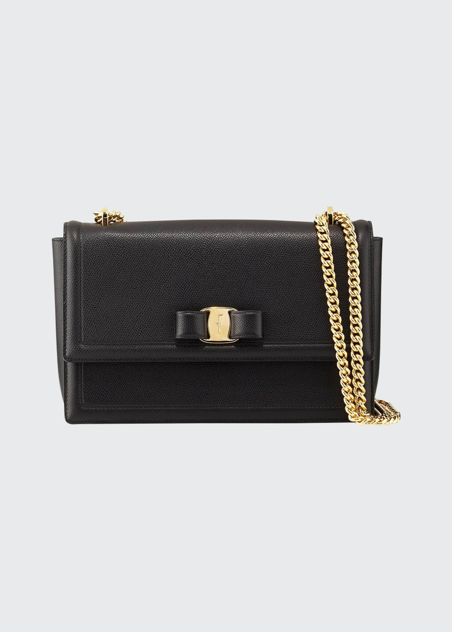 Salvatore Ferragamo Ginny Medium Vara Crossbody Bag, Black