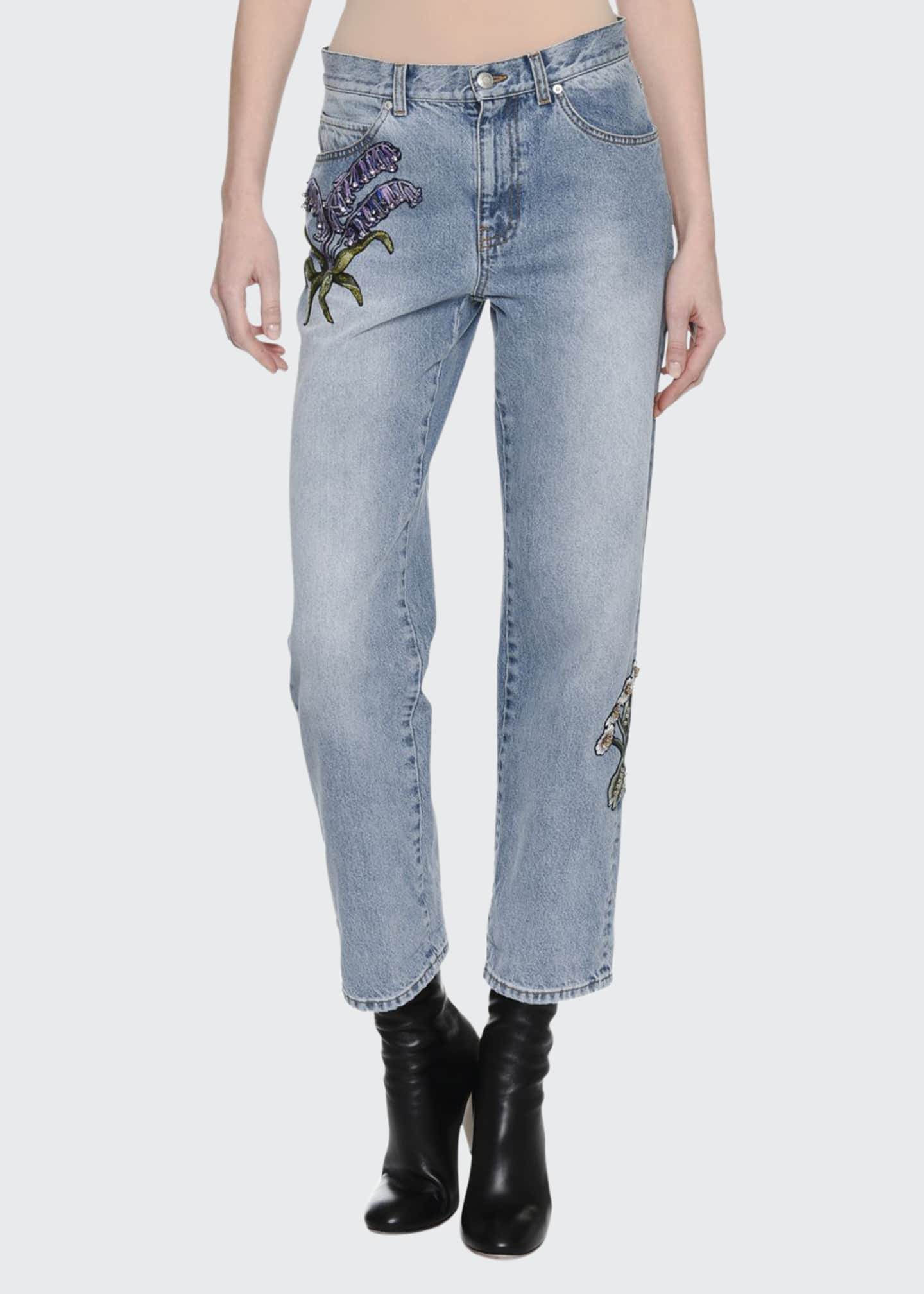 Alexander McQueen Embroidered Denim Ankle Jeans, Blue