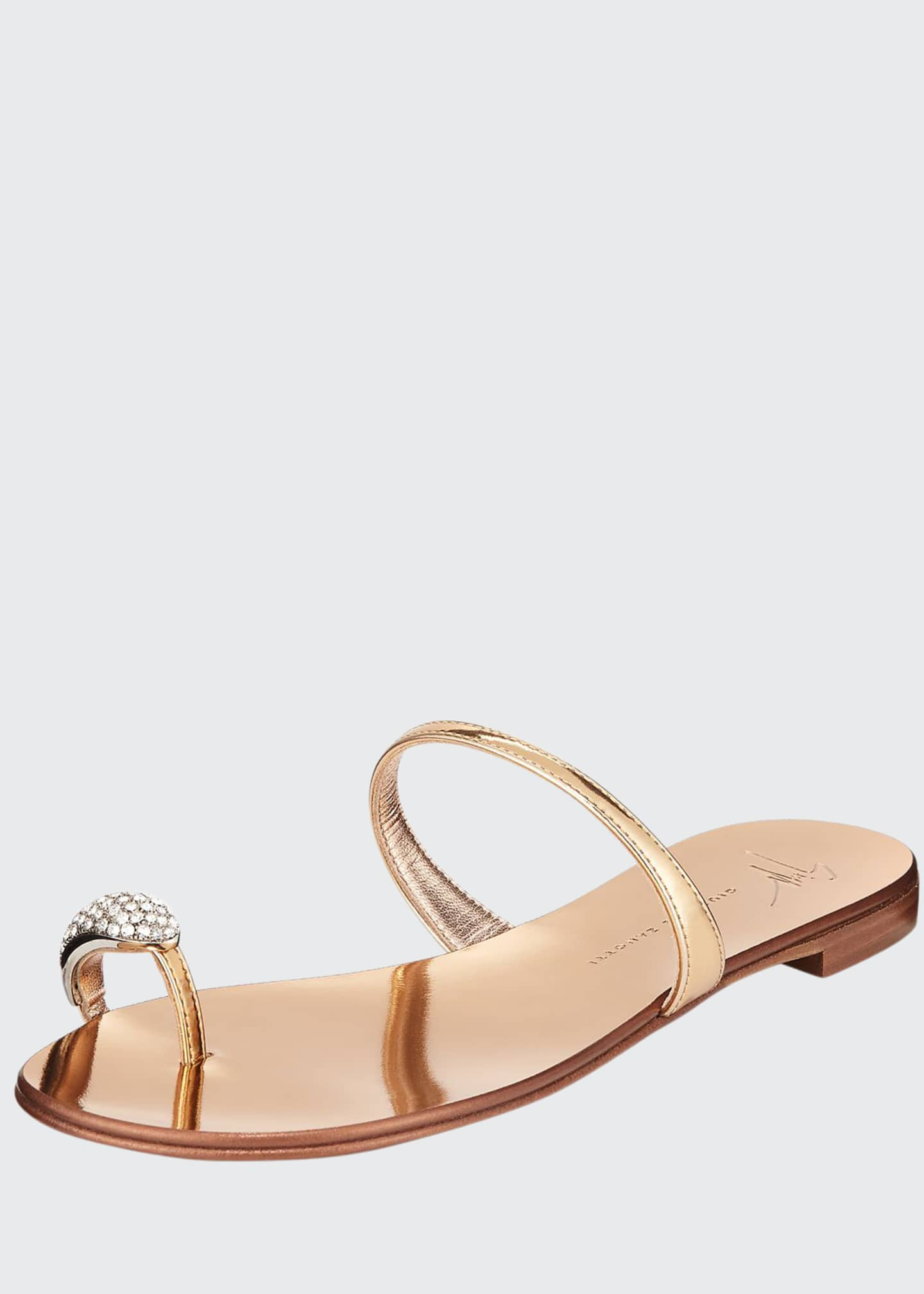 Image 1 of 3: Crystal-Embellished Flat Toe-Ring Sandals