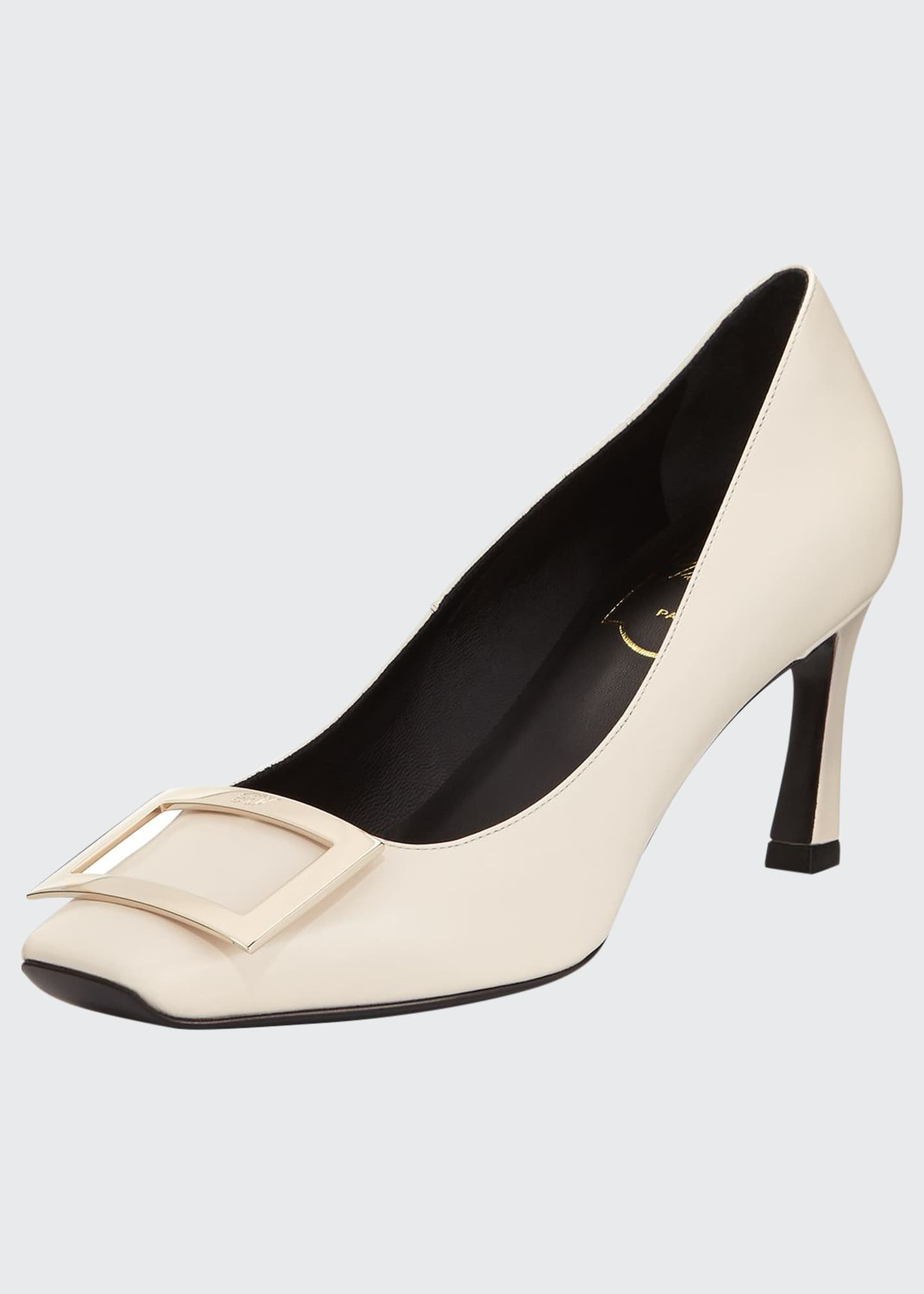 Image 1 of 3: Belle Vivier Trompette Leather 70mm Pumps, Off White