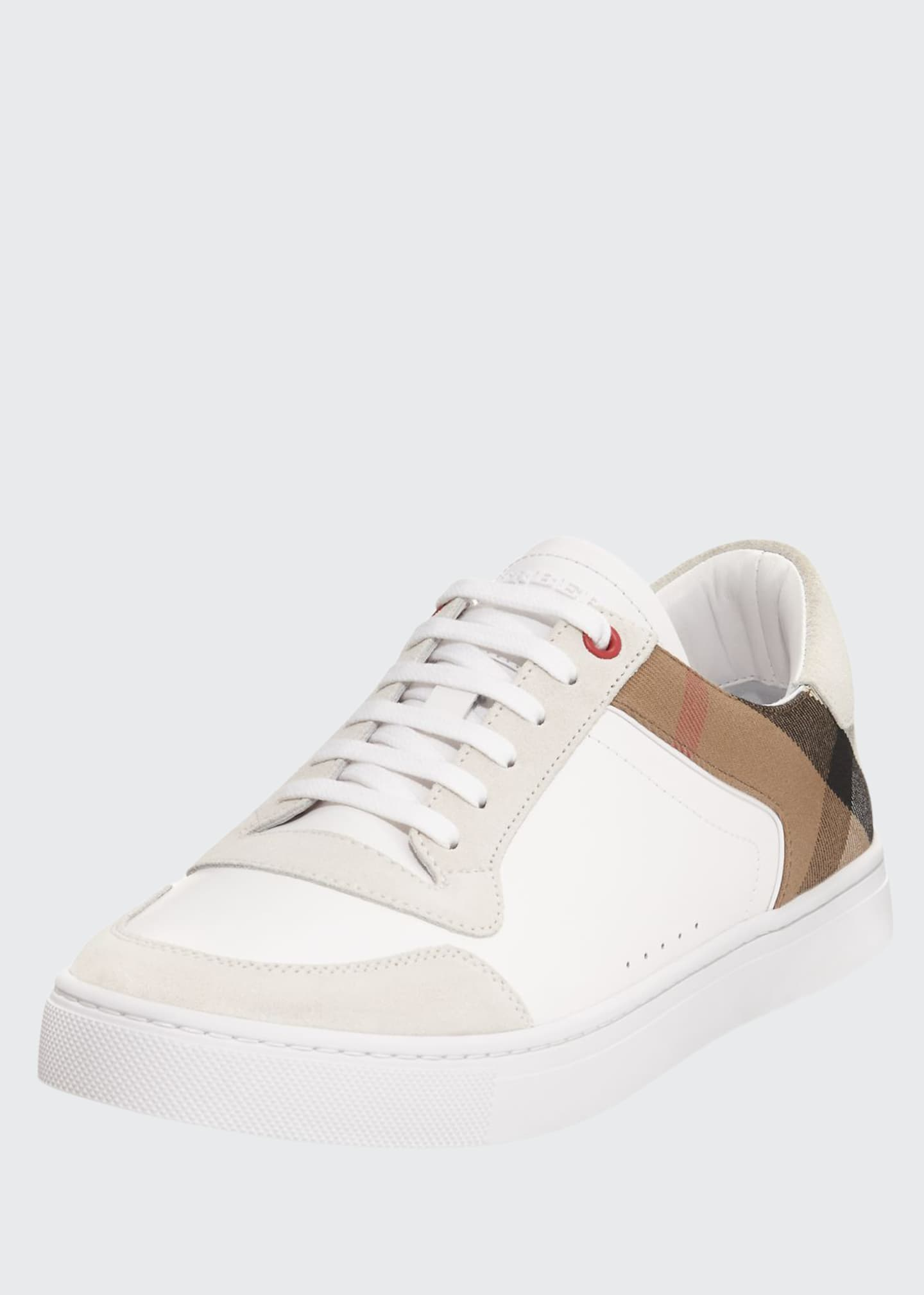 Image 1 of 3: Men's Reeth Leather & House Check Low-Top Sneakers, White