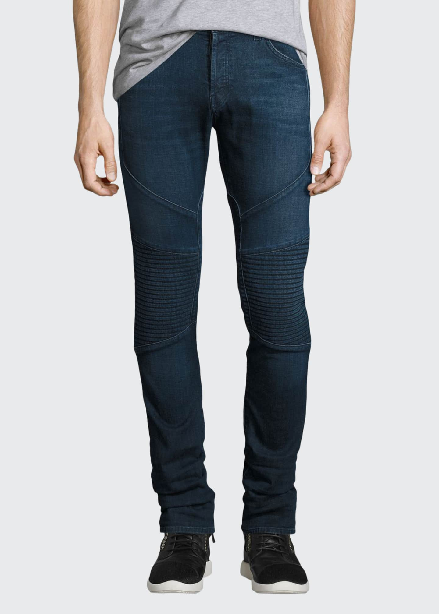 J Brand Bearden Moto Slim-Fit Jeans, Navy