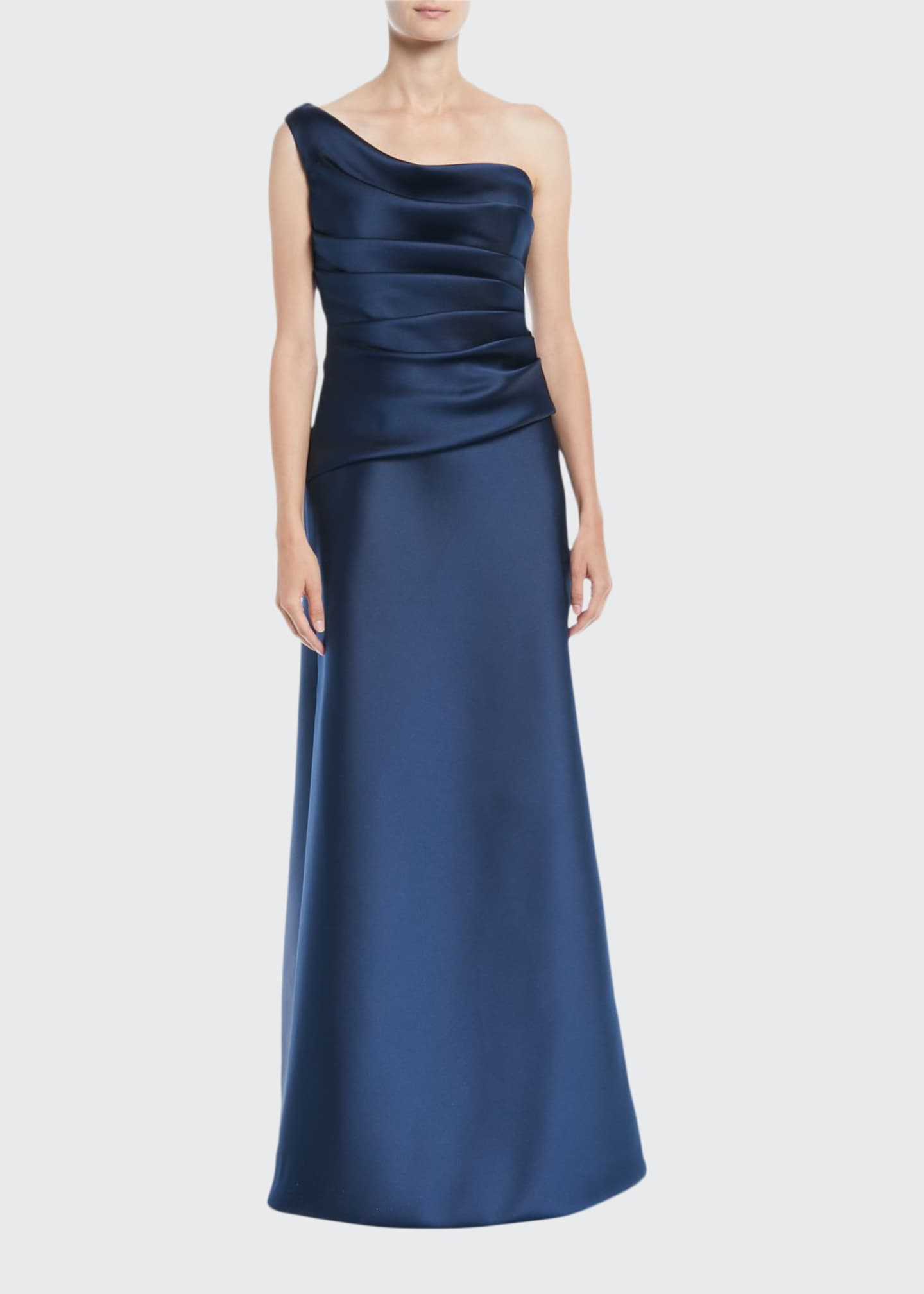 Image 1 of 2: One-Shoulder Sleeveless Gathered Duchess Satin Evening Gown