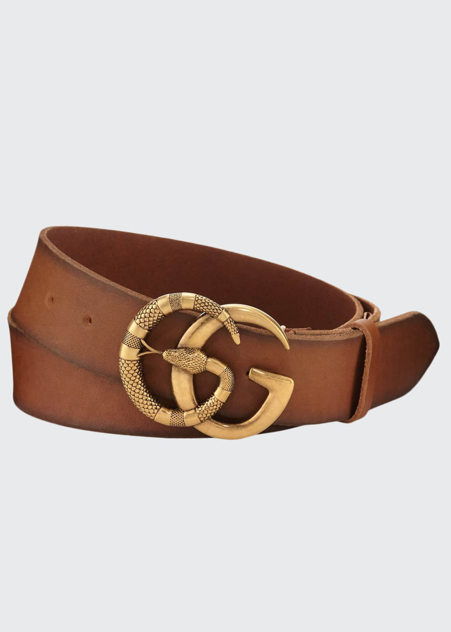 Gucci Men's Cuoio Toscano Snake GG Belt