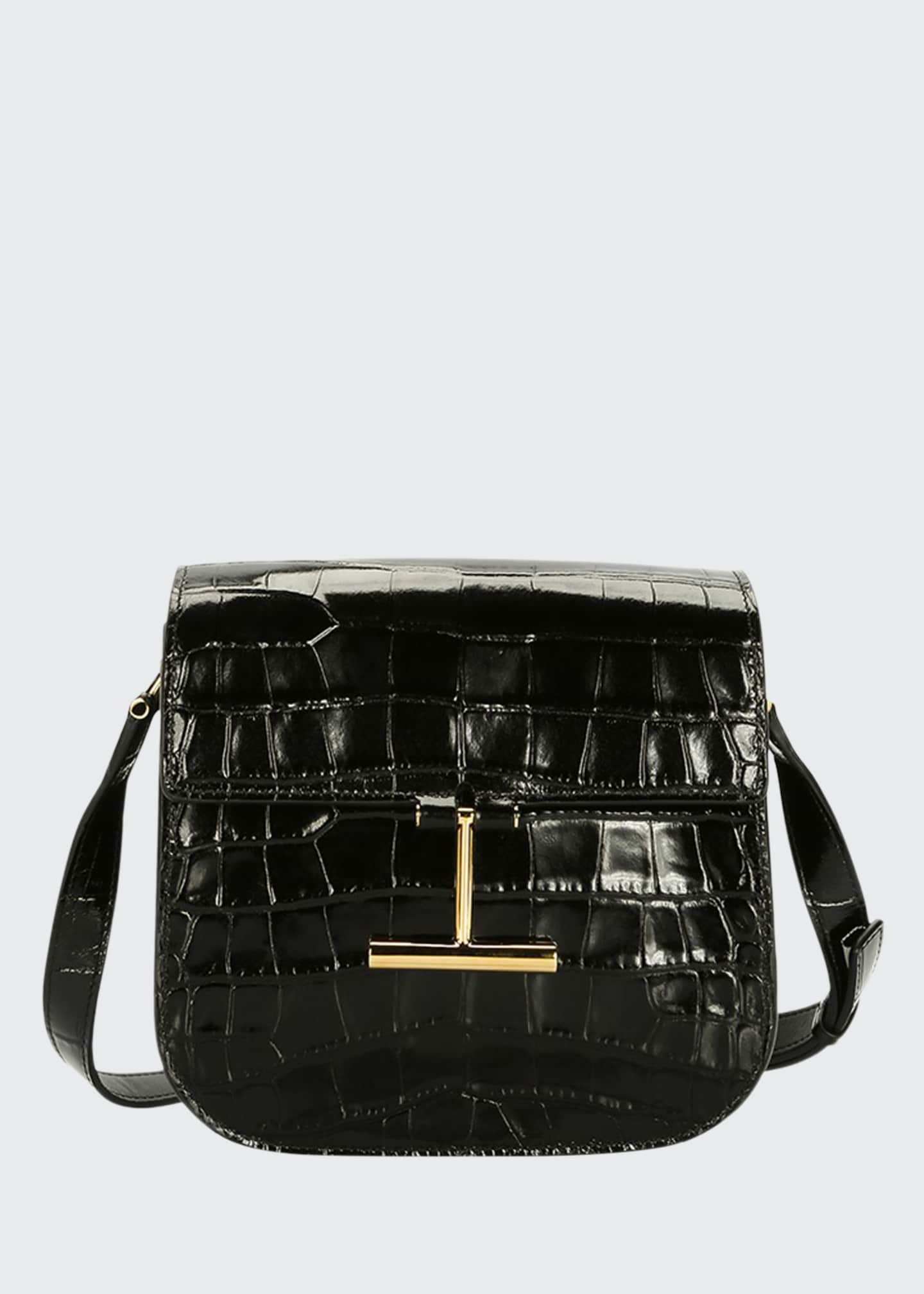 Image 1 of 3: Tara Small T Clasp Alligator Shoulder Bag