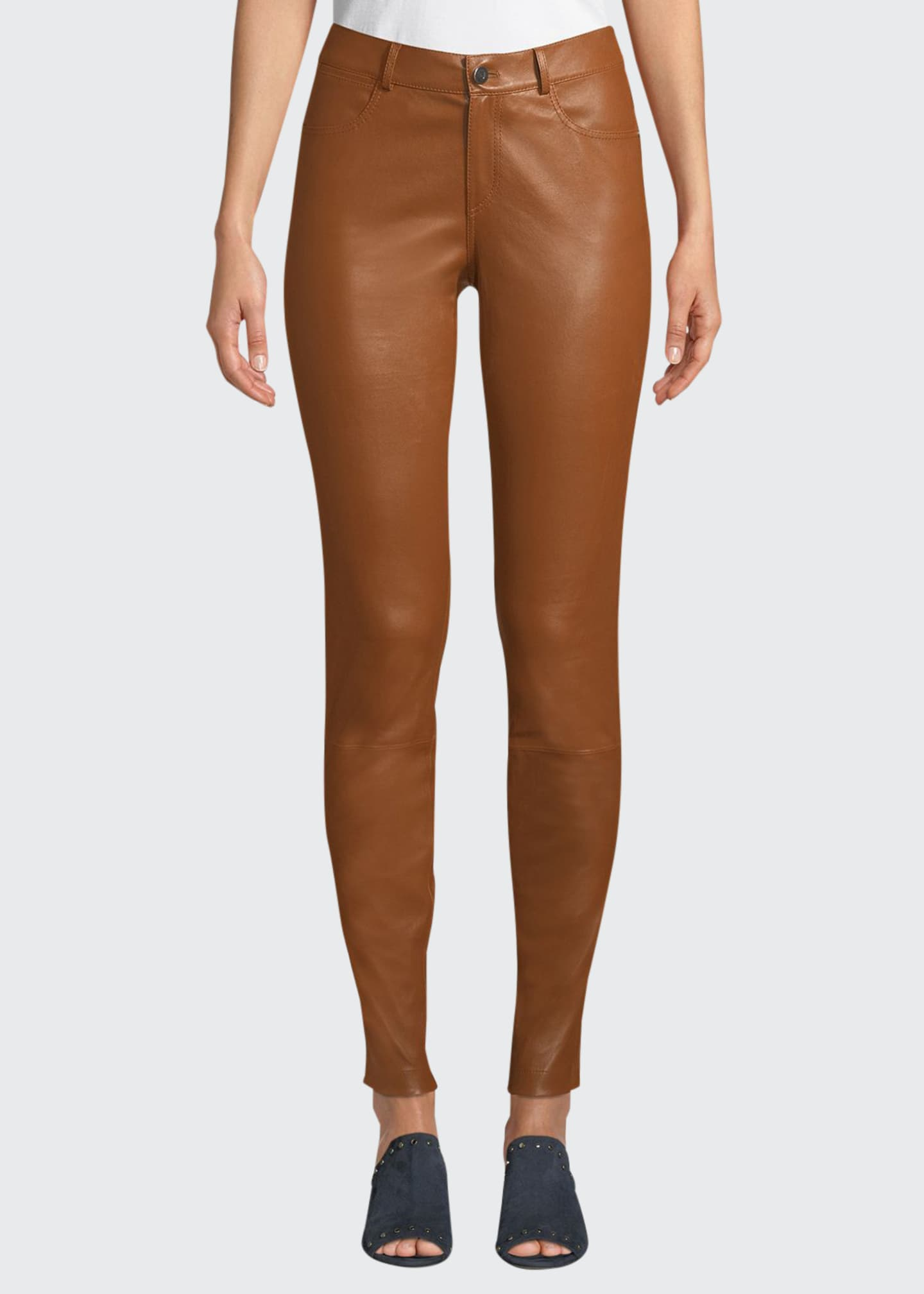 Image 1 of 3: Mercer Mid-Rise Leather Skinny Jeans