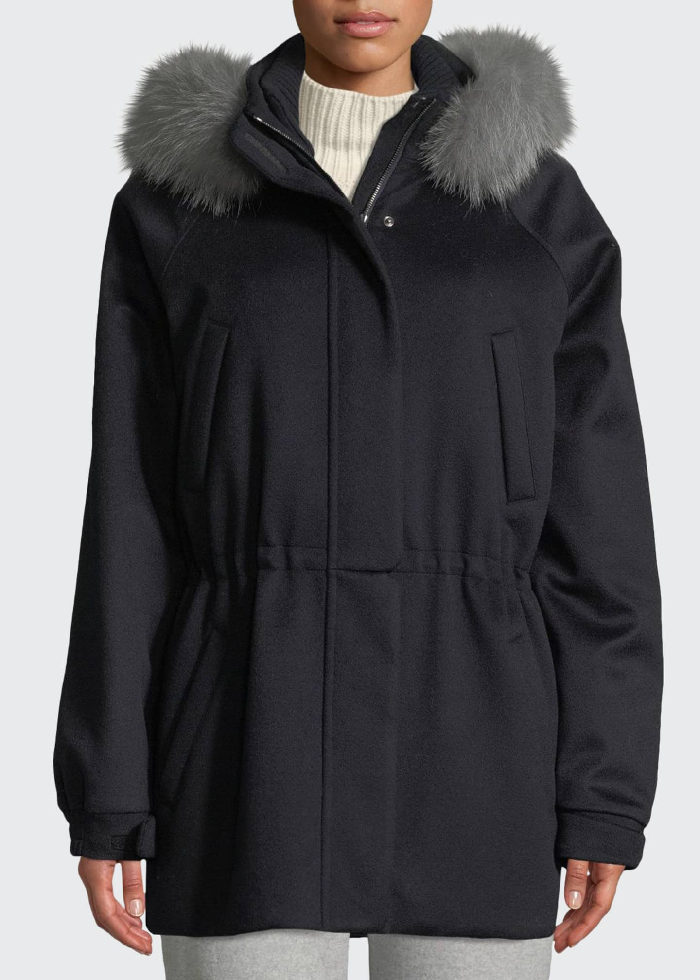 Image 1 of 3: Cashmere Fox-Fur Hooded Parka Coat
