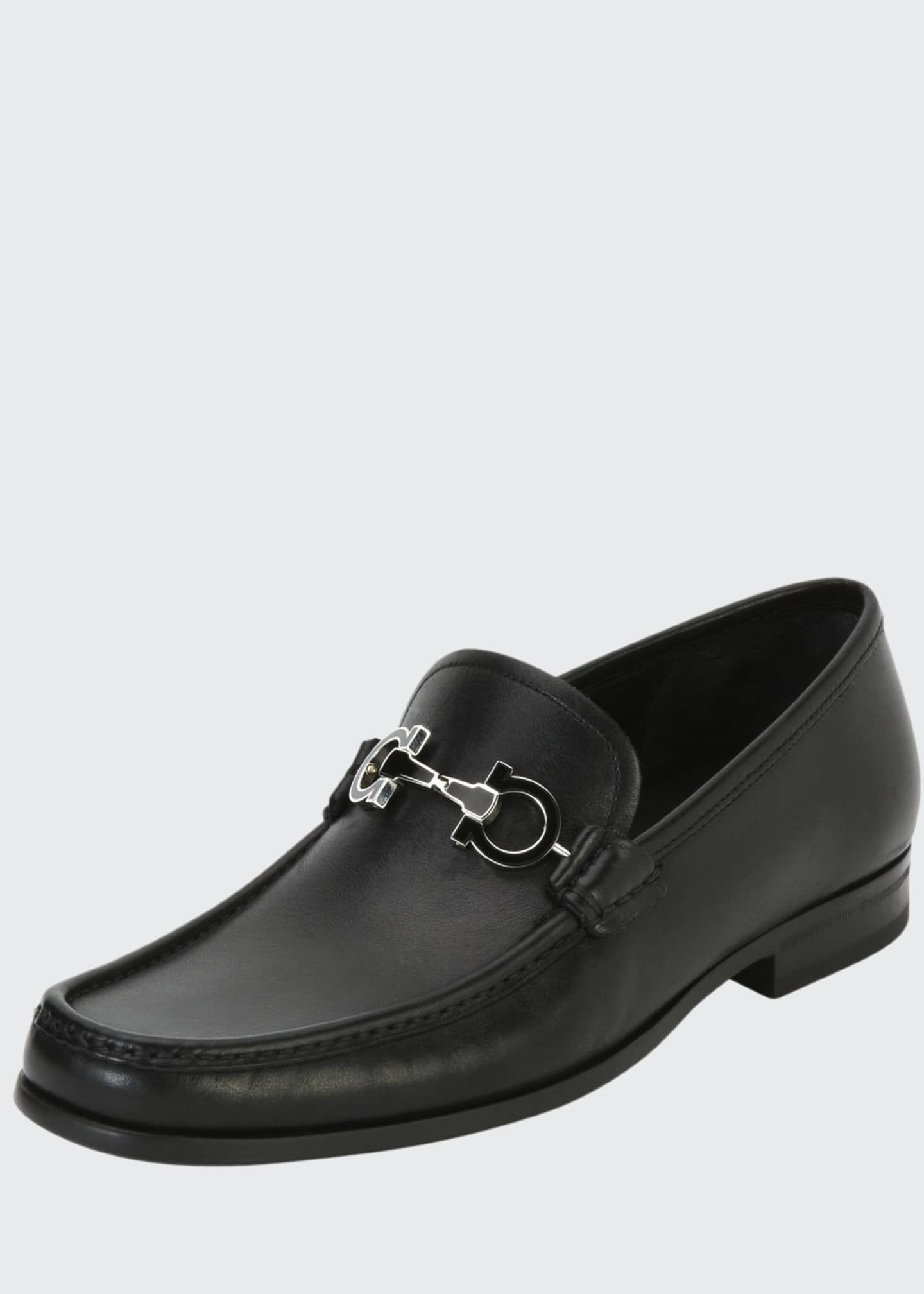 Image 1 of 3: Men's Leather Loafer with Reversible Gancini Ornament