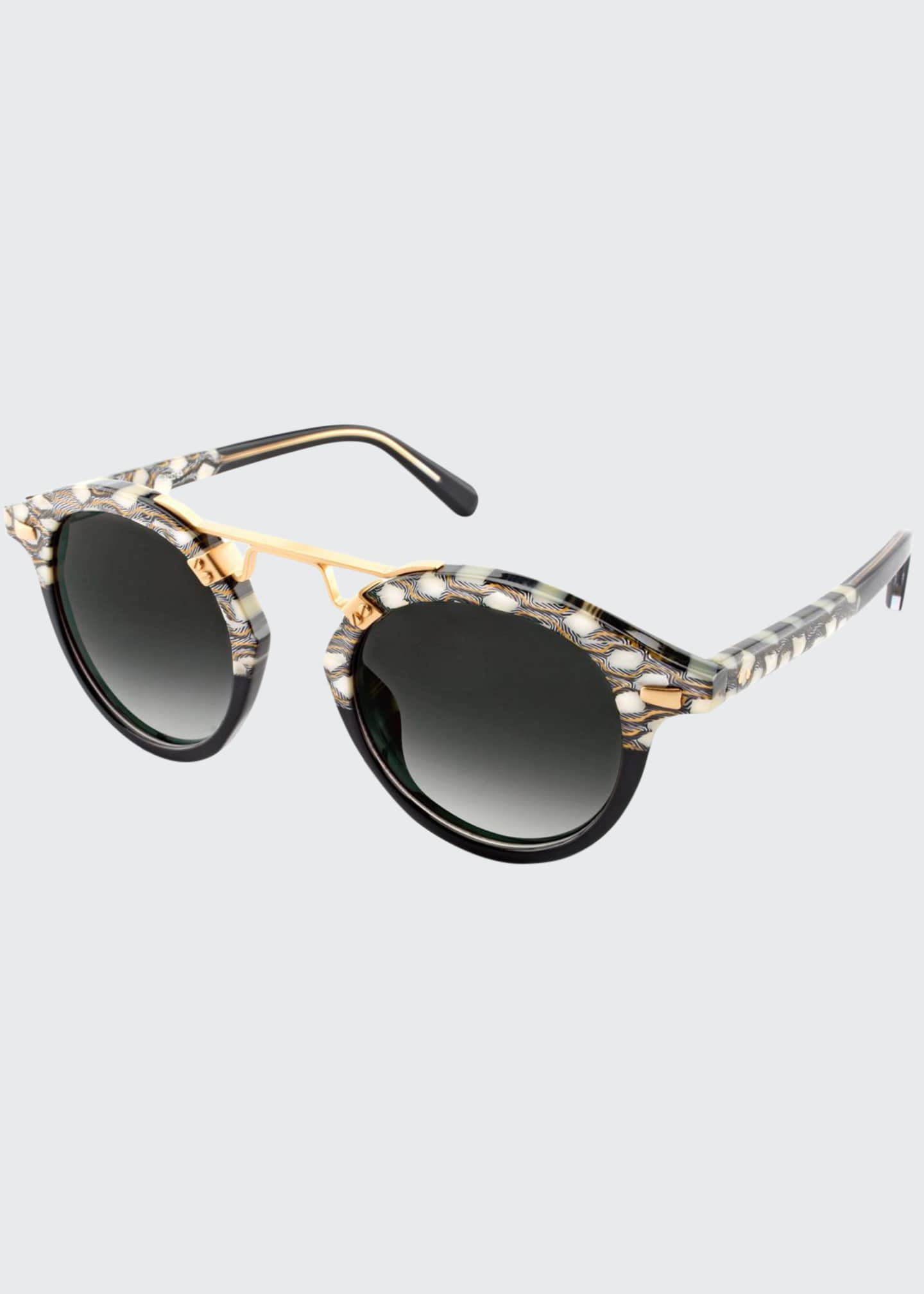 Image 1 of 2: STL II Two-Tone Round Acetate Sunglasses, Black Pattern