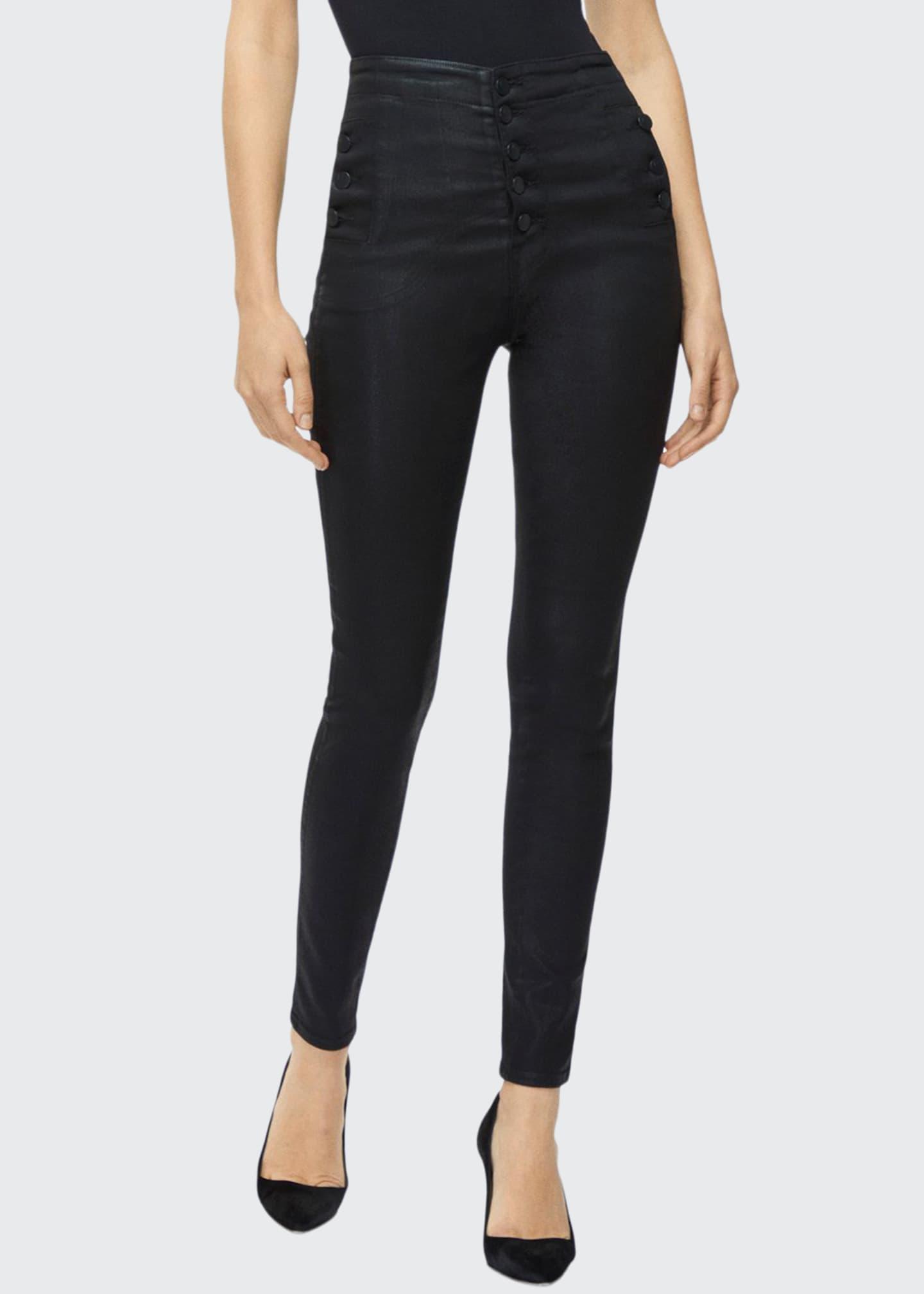 J Brand Natasha High-Rise Coated Skinny Jeans