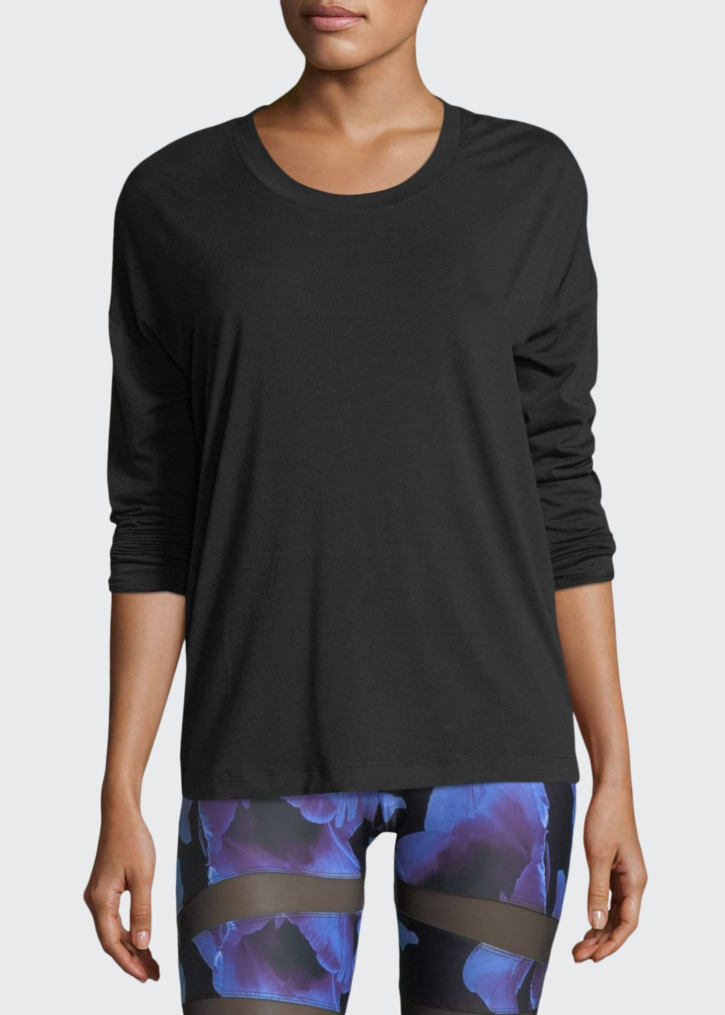 Image 1 of 2: Braided-Back Long-Sleeve Crewneck Performance Top