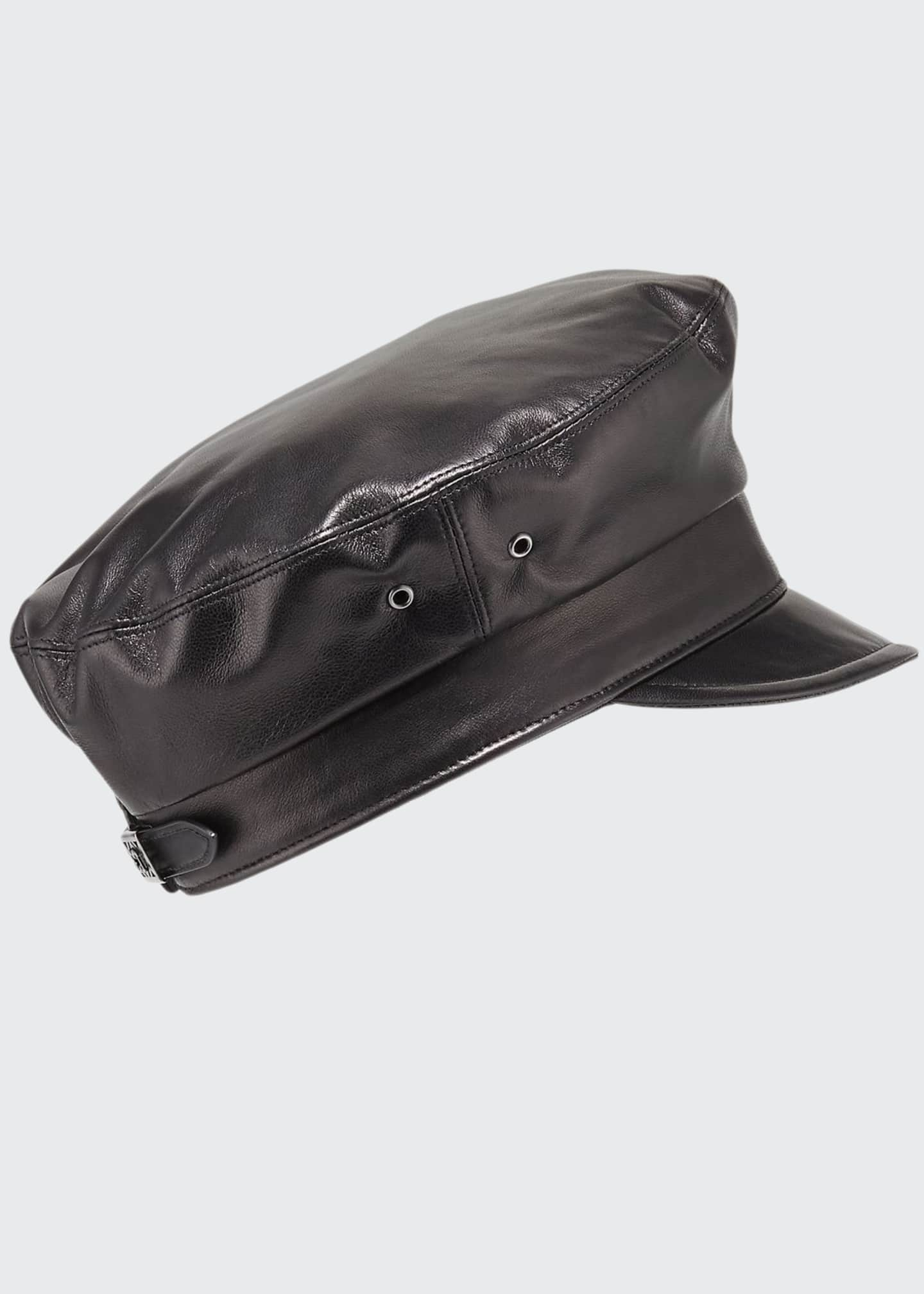 Image 1 of 1: Night Porter Leather Newsboy Cap