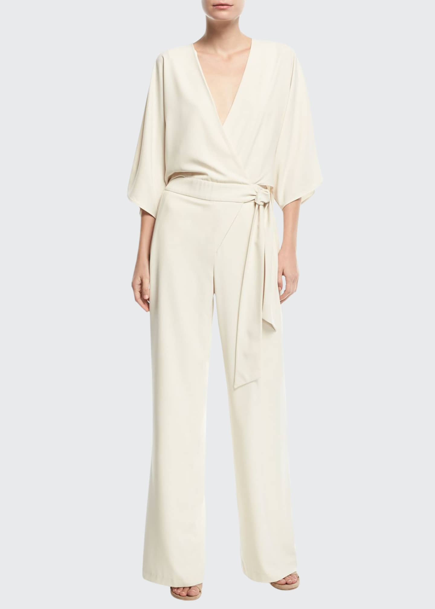 Image 1 of 2: Wide-Leg 3/4-Sleeve Wrap-Front Jumpsuit w/ Tie Waist