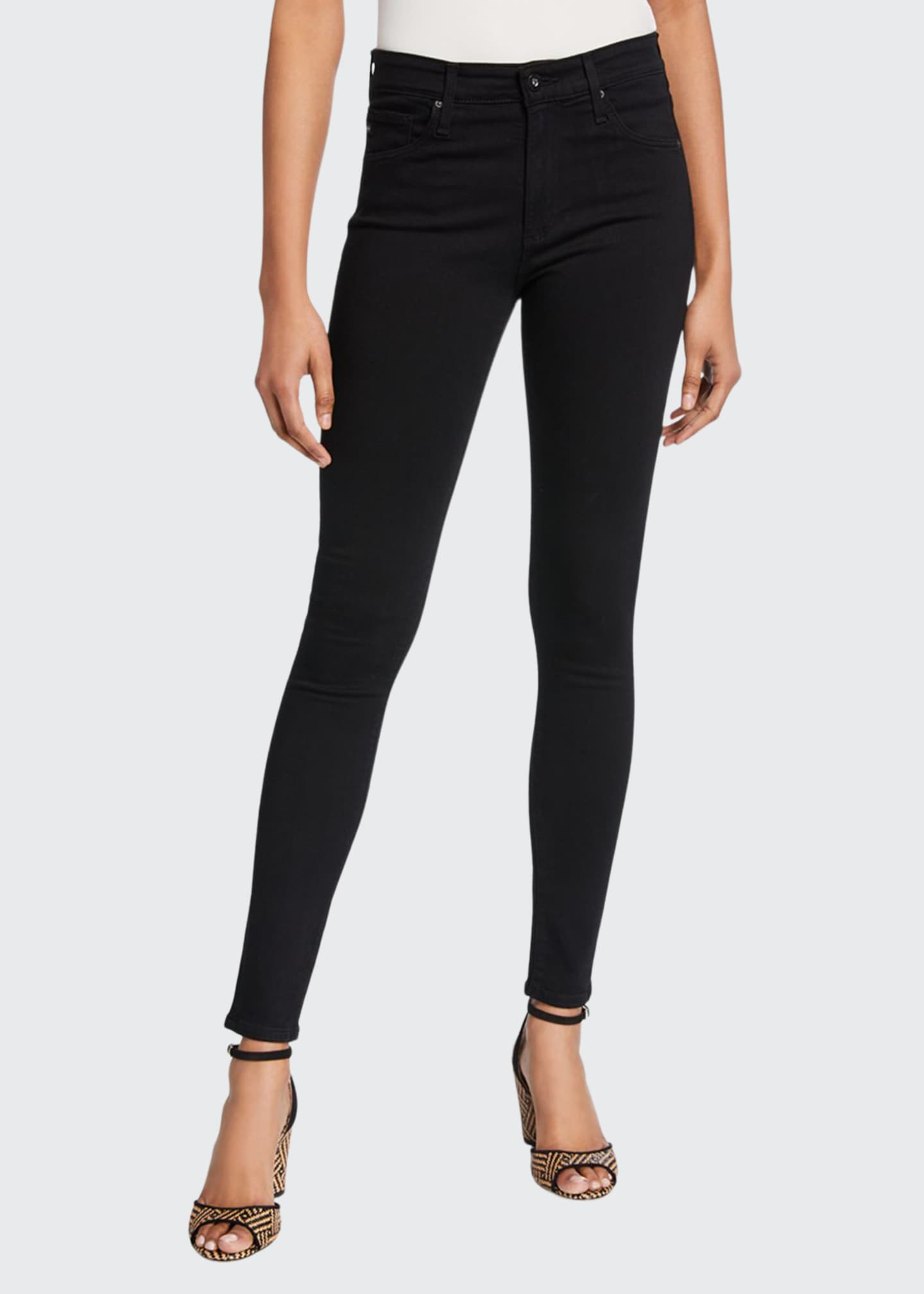 Image 1 of 3: Farrah High-Waist Stretch-Denim Skinny Jeans