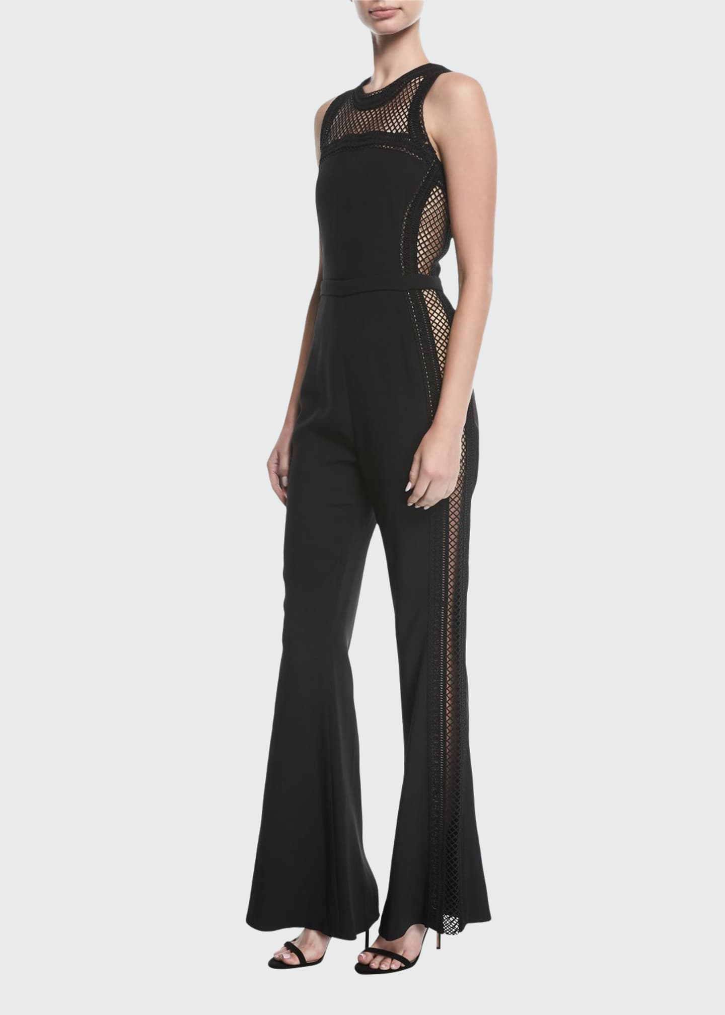 Image 1 of 2: Sleeveless Net-Trim Jumpsuit