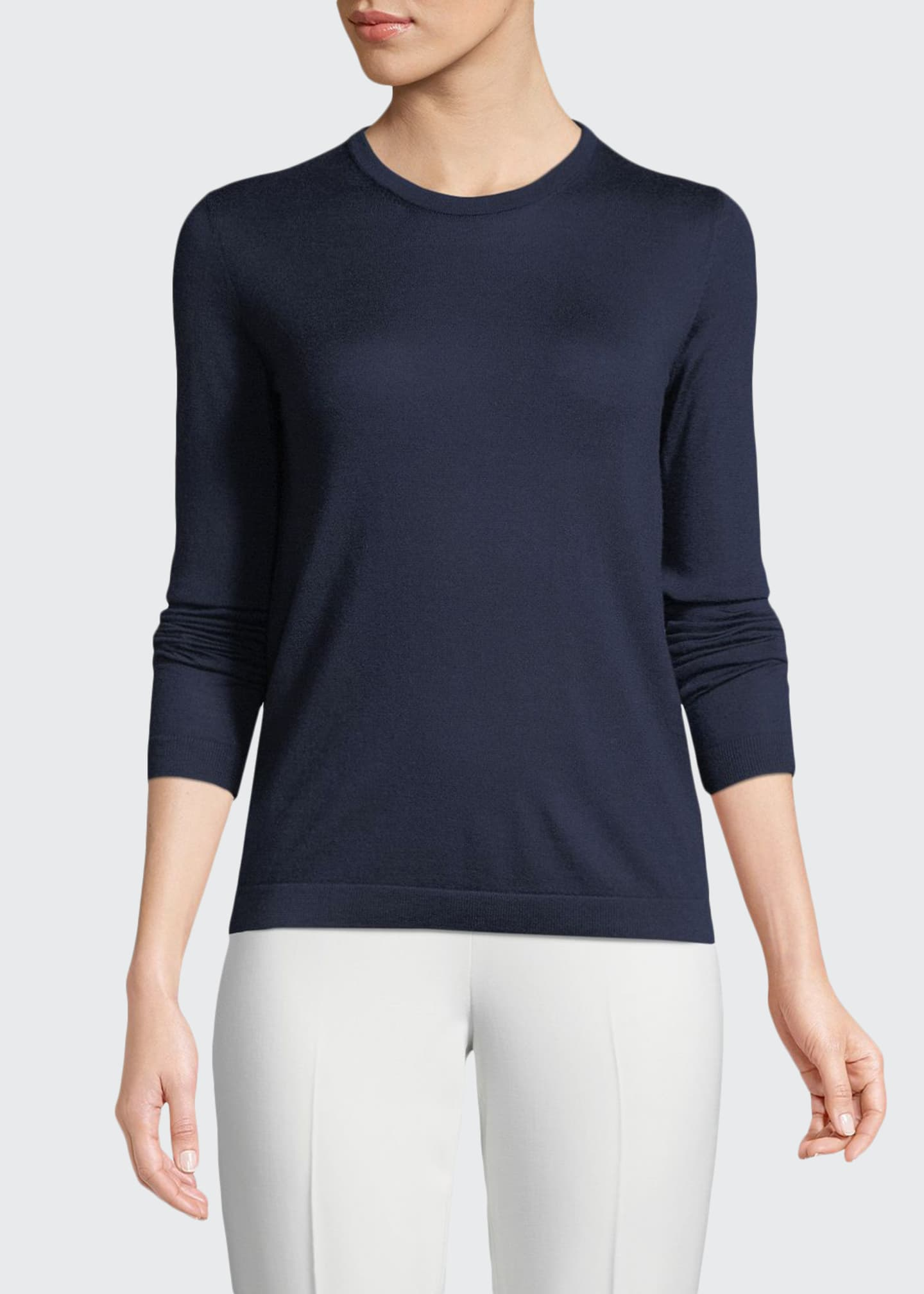 Image 1 of 2: Crewneck Long-Sleeve Cashmere Jersey Sweater
